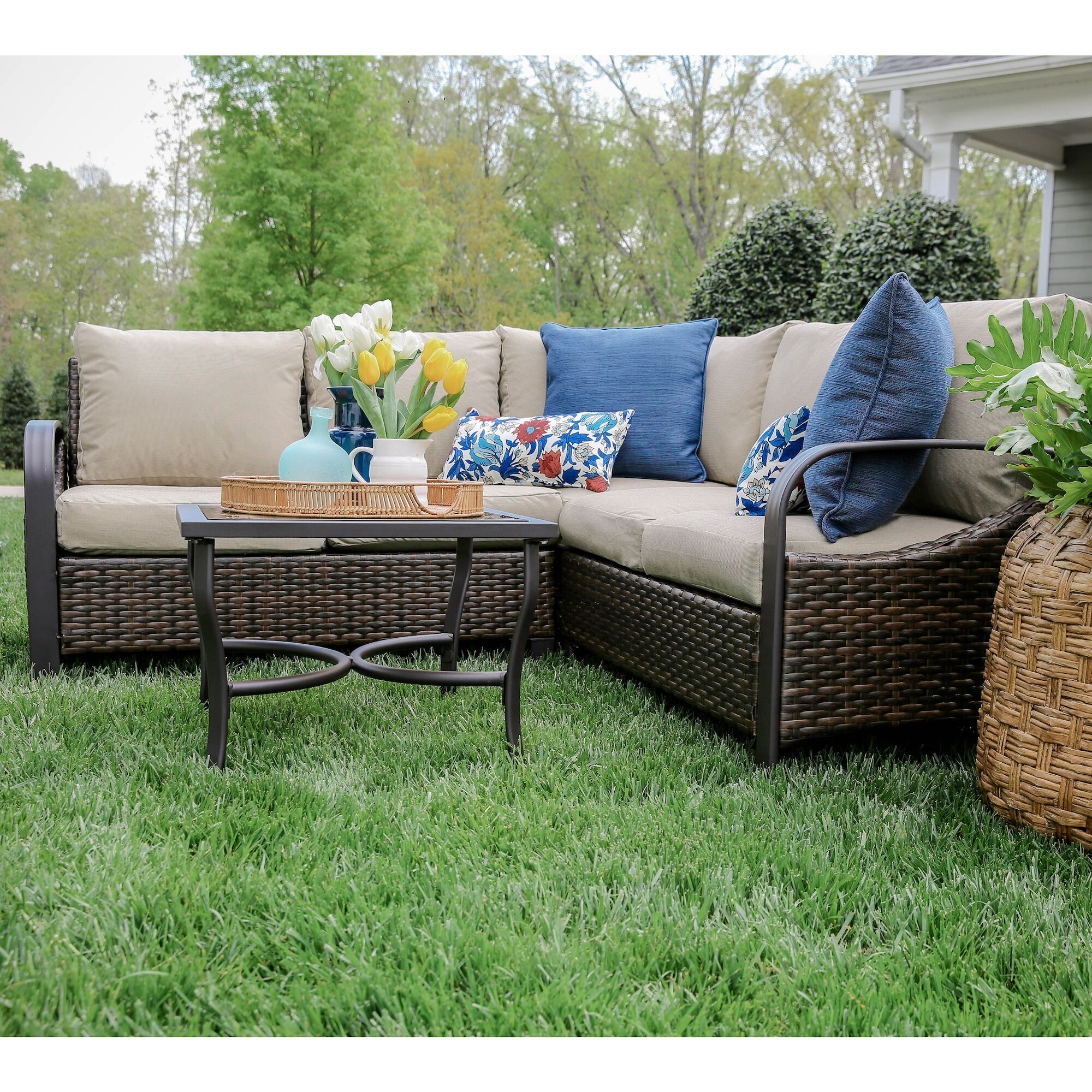 Trenton 4 Piece Sectional Set with Cushions Fabric: Tan
