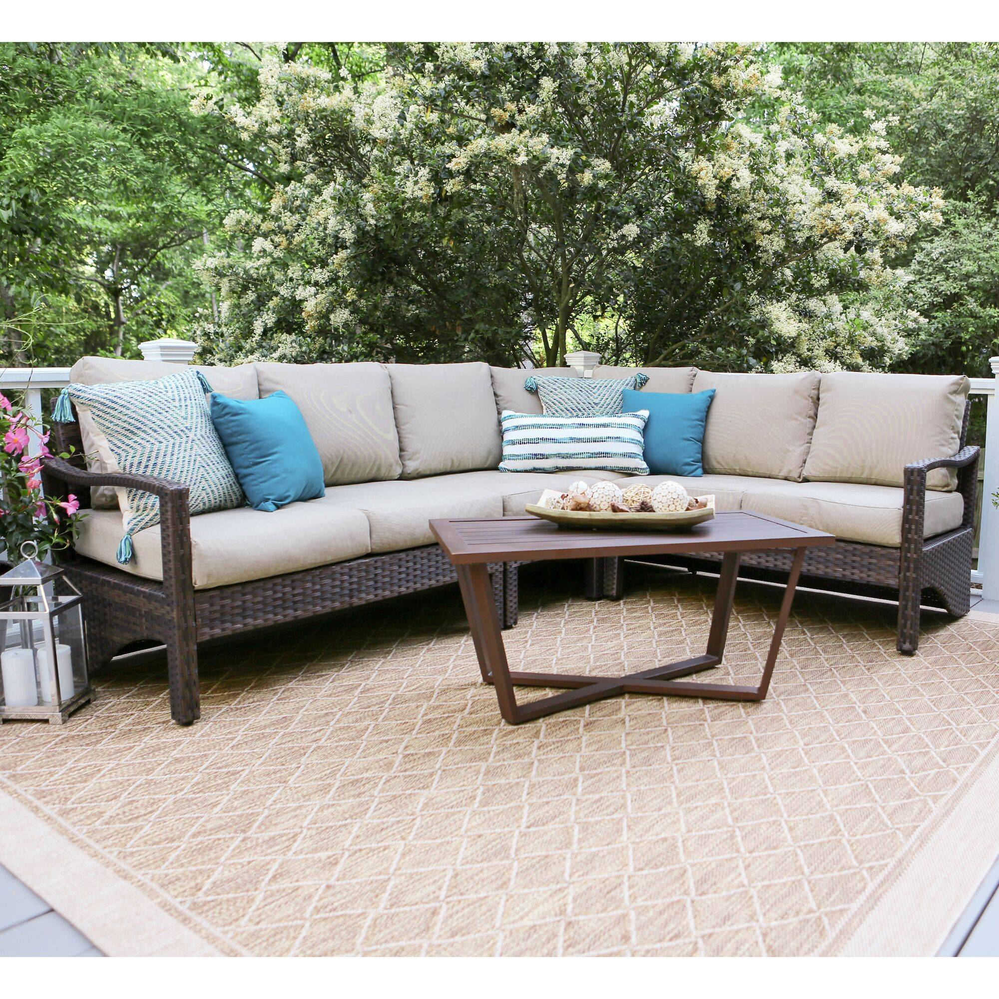 Augusta 5 Piece Sectional Set with Cushions Fabric: Tan