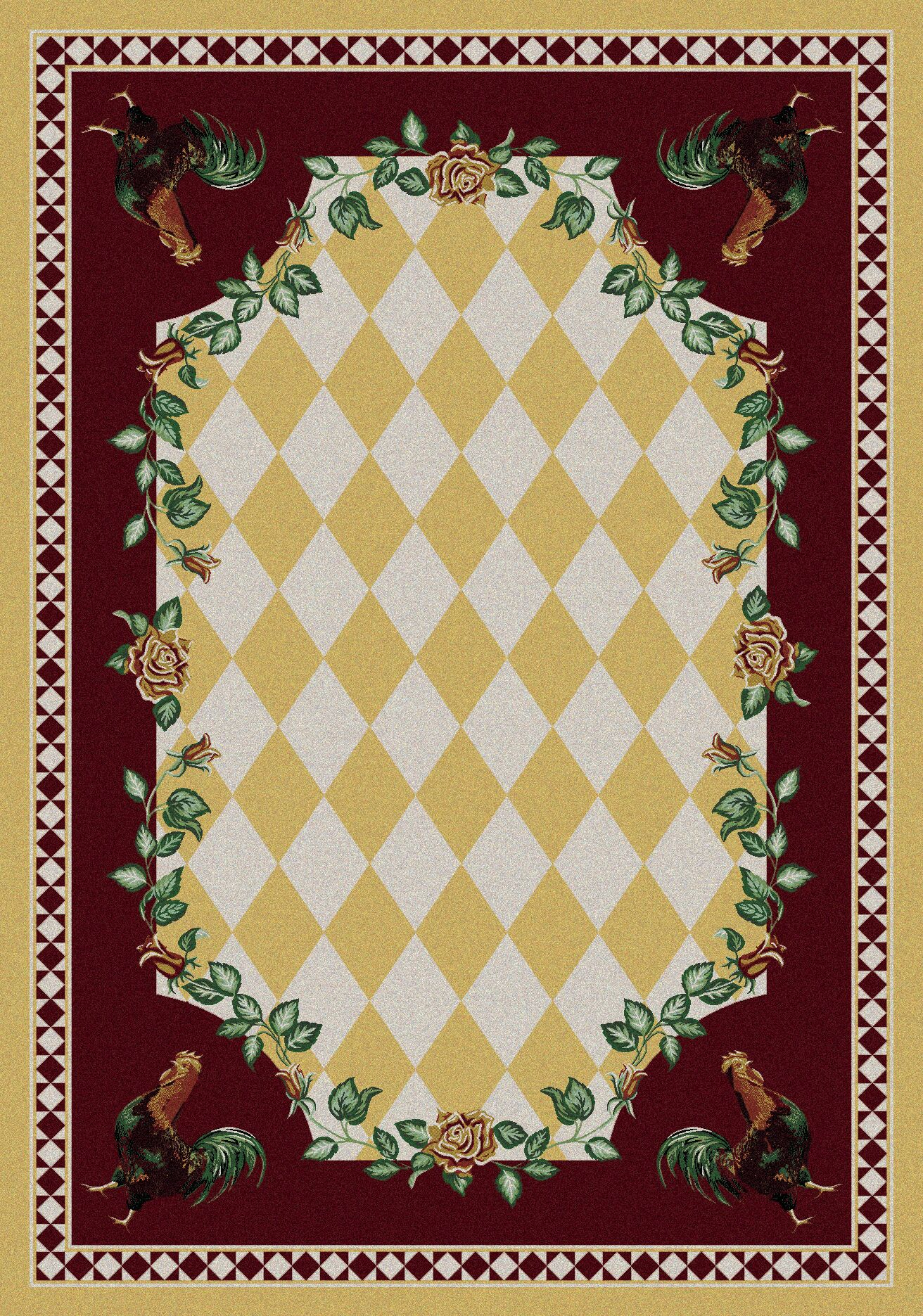 Novelty High Country Rooster Yellow Area Rug Rug Size: Rectangle 5' x 8'