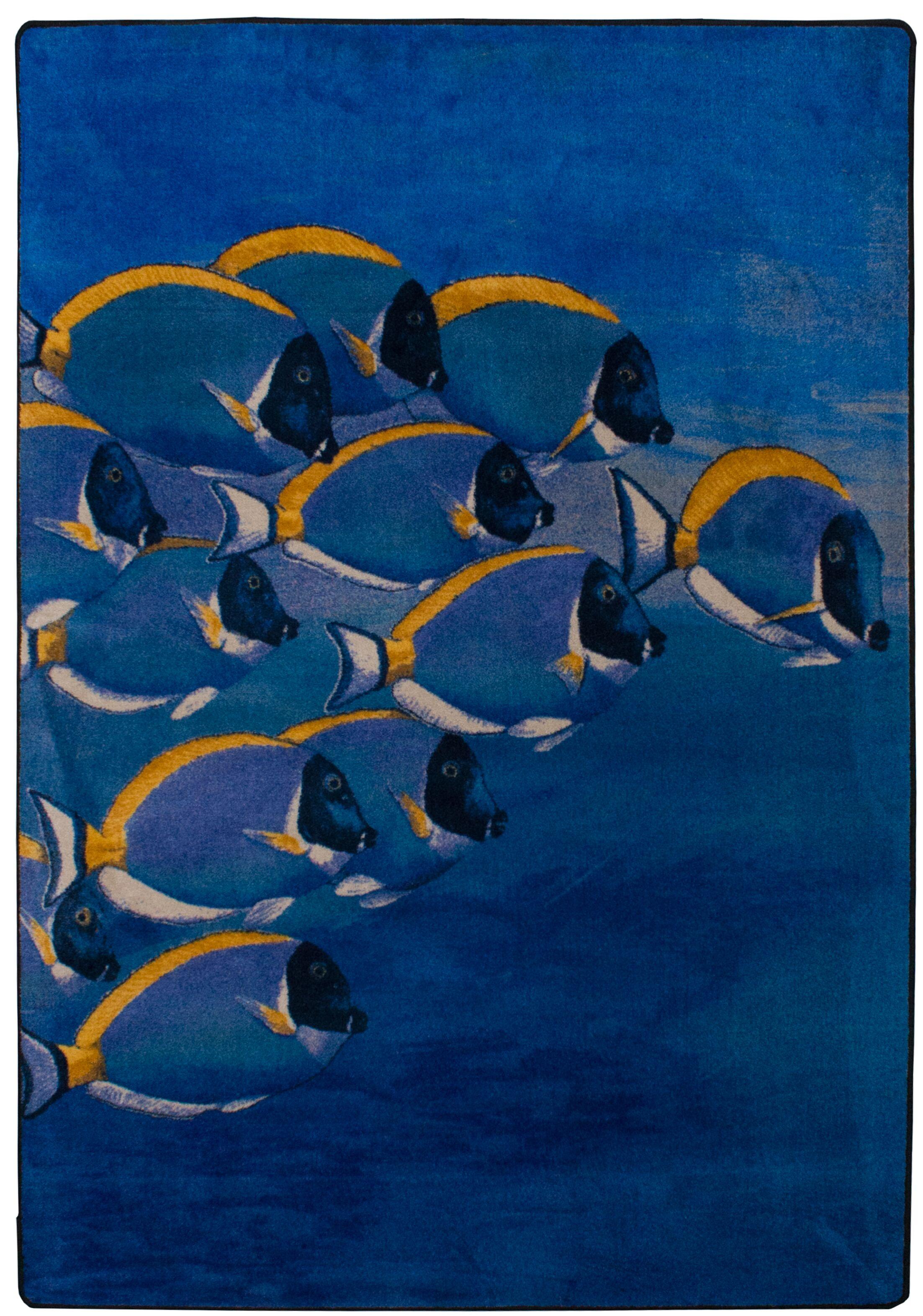 Coastal Serenely Beautiful Ocean Blue Area Rug Rug Size: Rectangle 5' x 8'