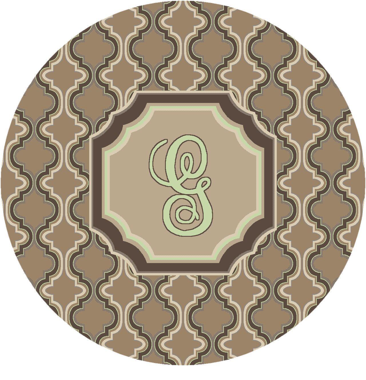 Lanikai Monogrammed Green/Brown Area Rug Letter: G
