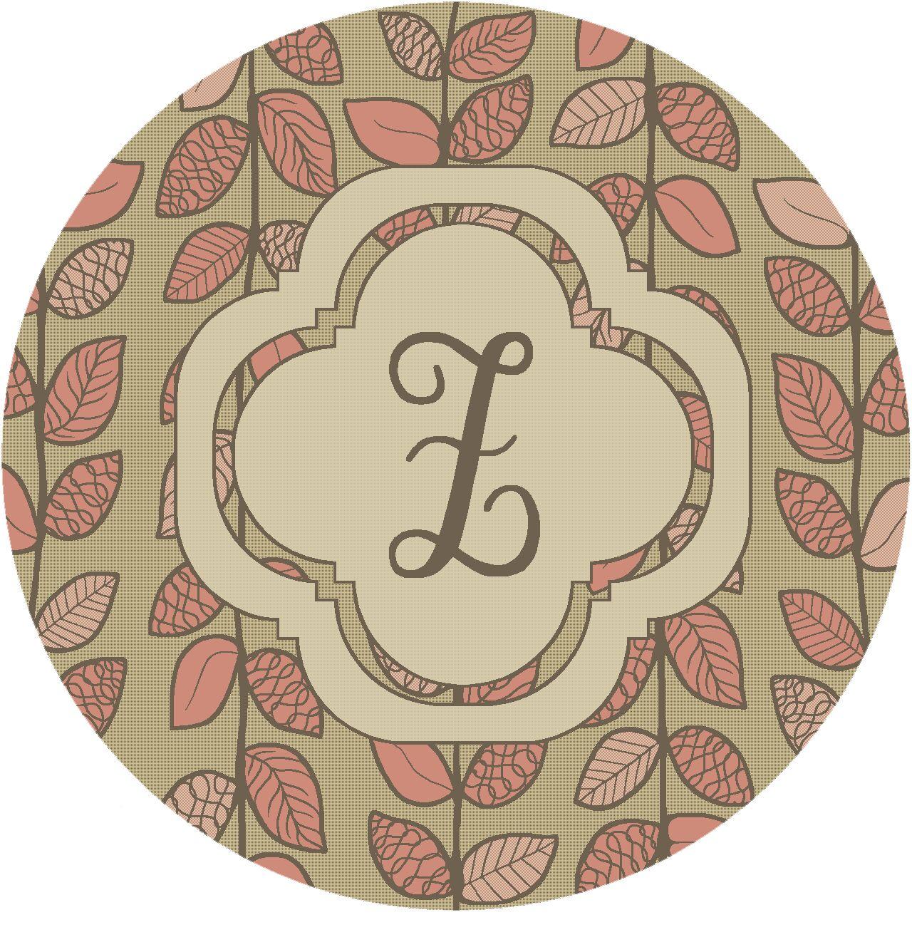 Happel Delicate Foliage Monogrammed Pink Area Rug Letter: Z
