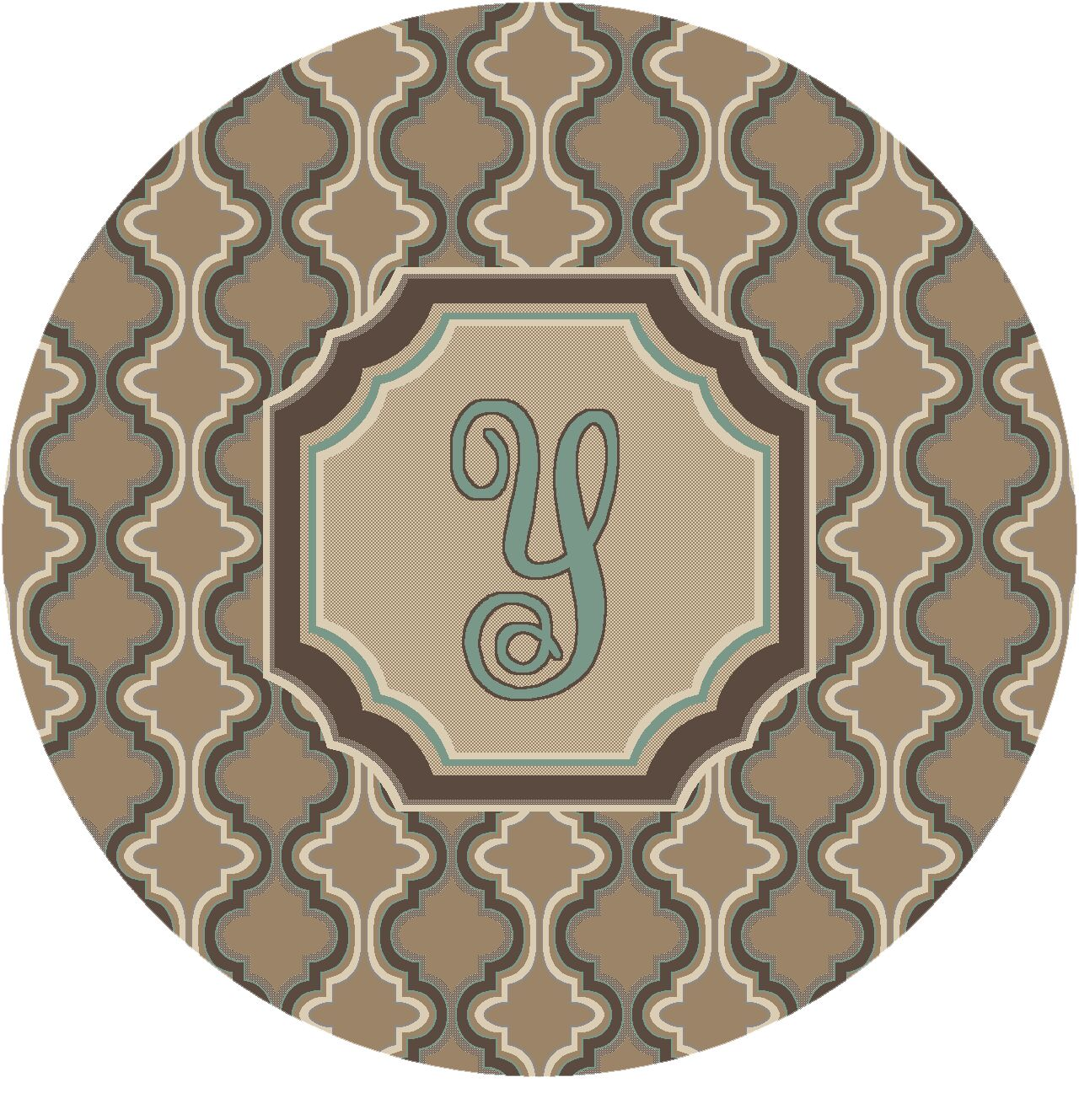 Lanikai Monogrammed Turquoise/Brown Area Rug Letter: Y
