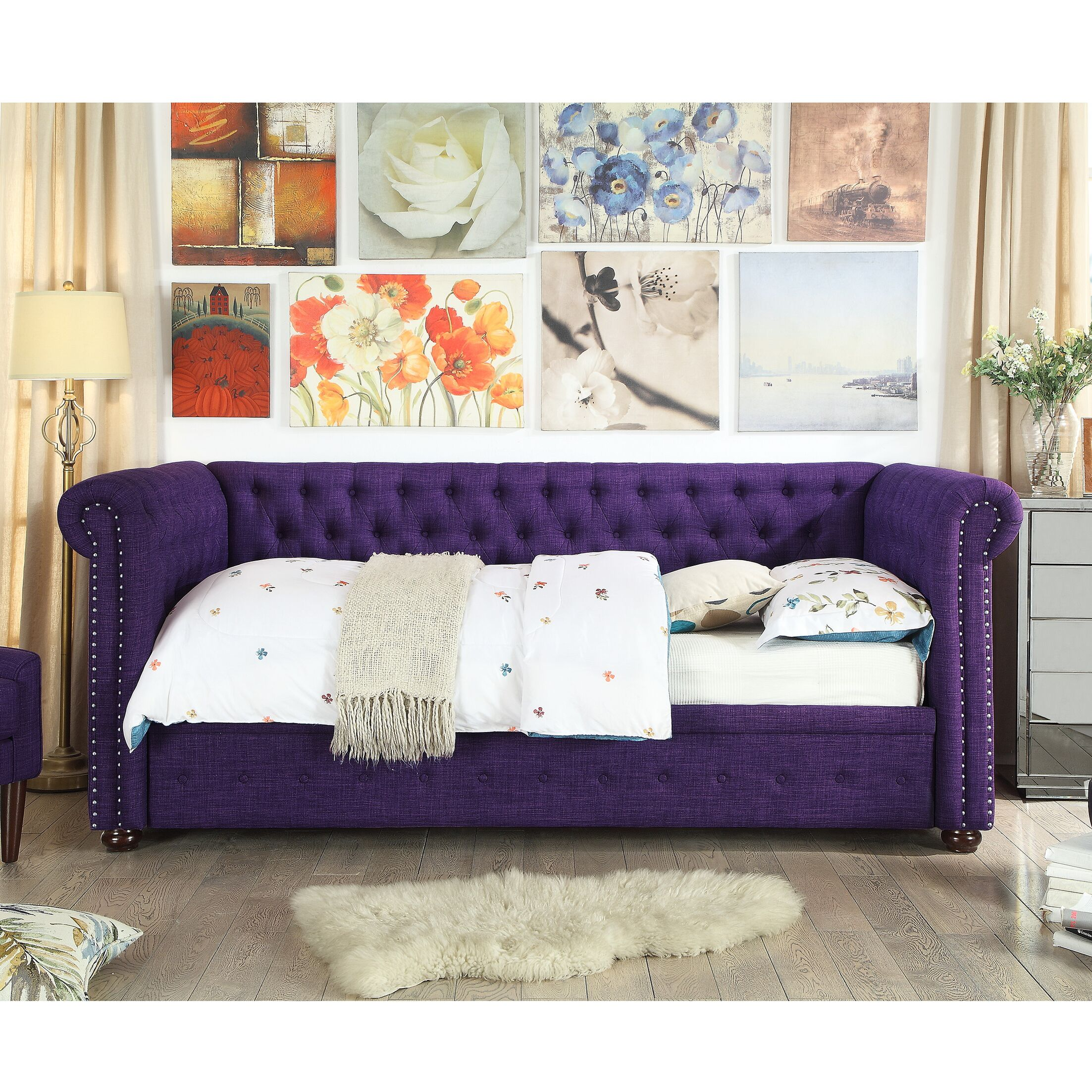 Dolson Twin Size Tufted Daybed Color: Violet