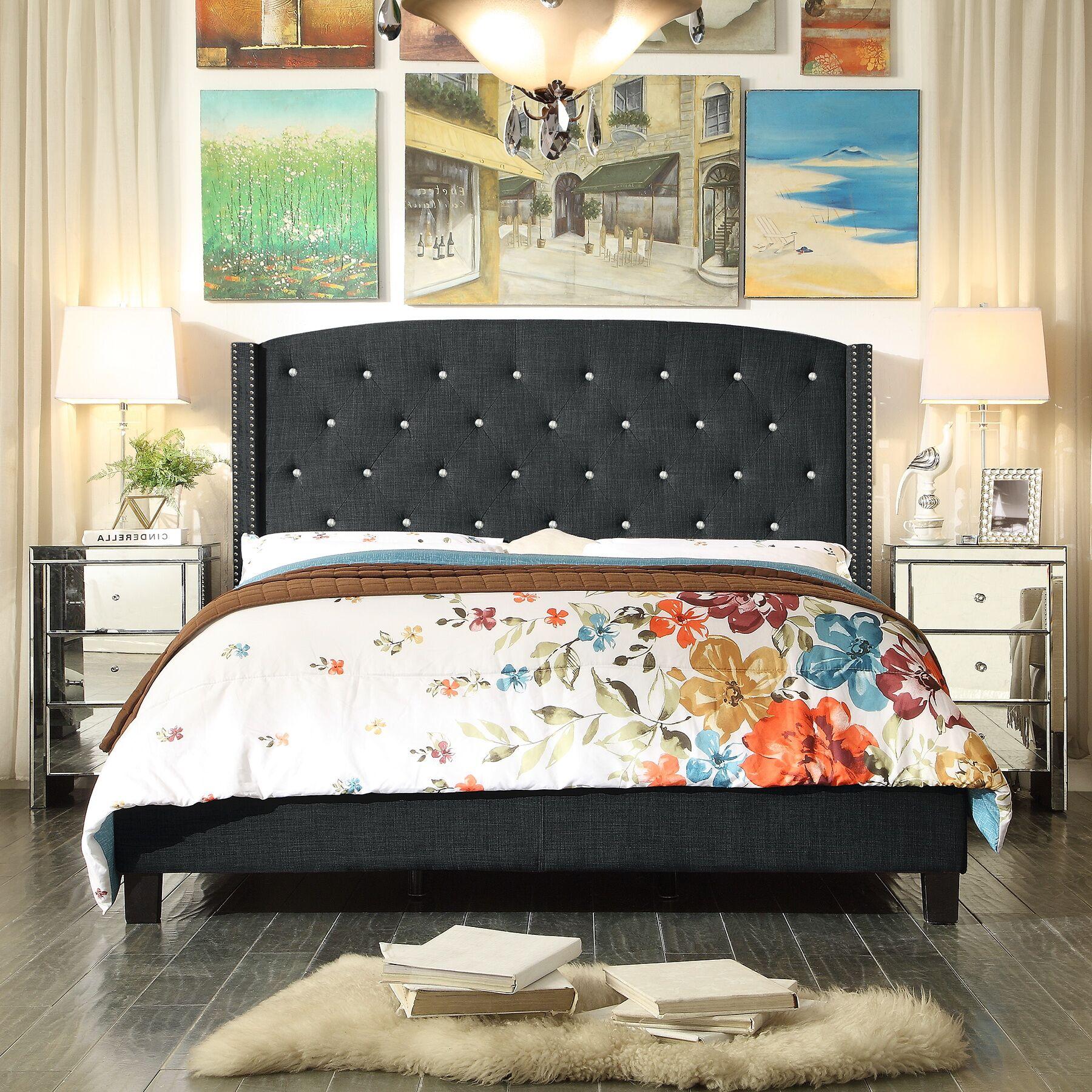 Martins Upholstered Panel Bed Color: Burgundy, Size: Queen