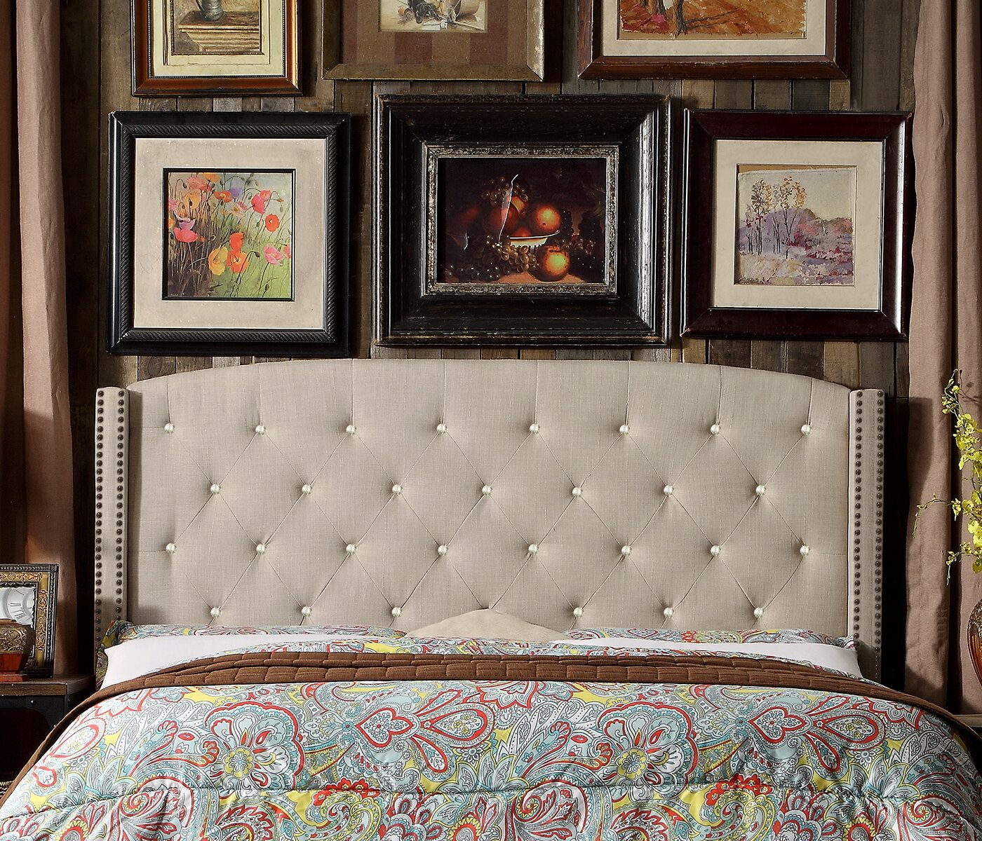 Martins Upholstered Panel Headboard Size: Queen, Color: Beige