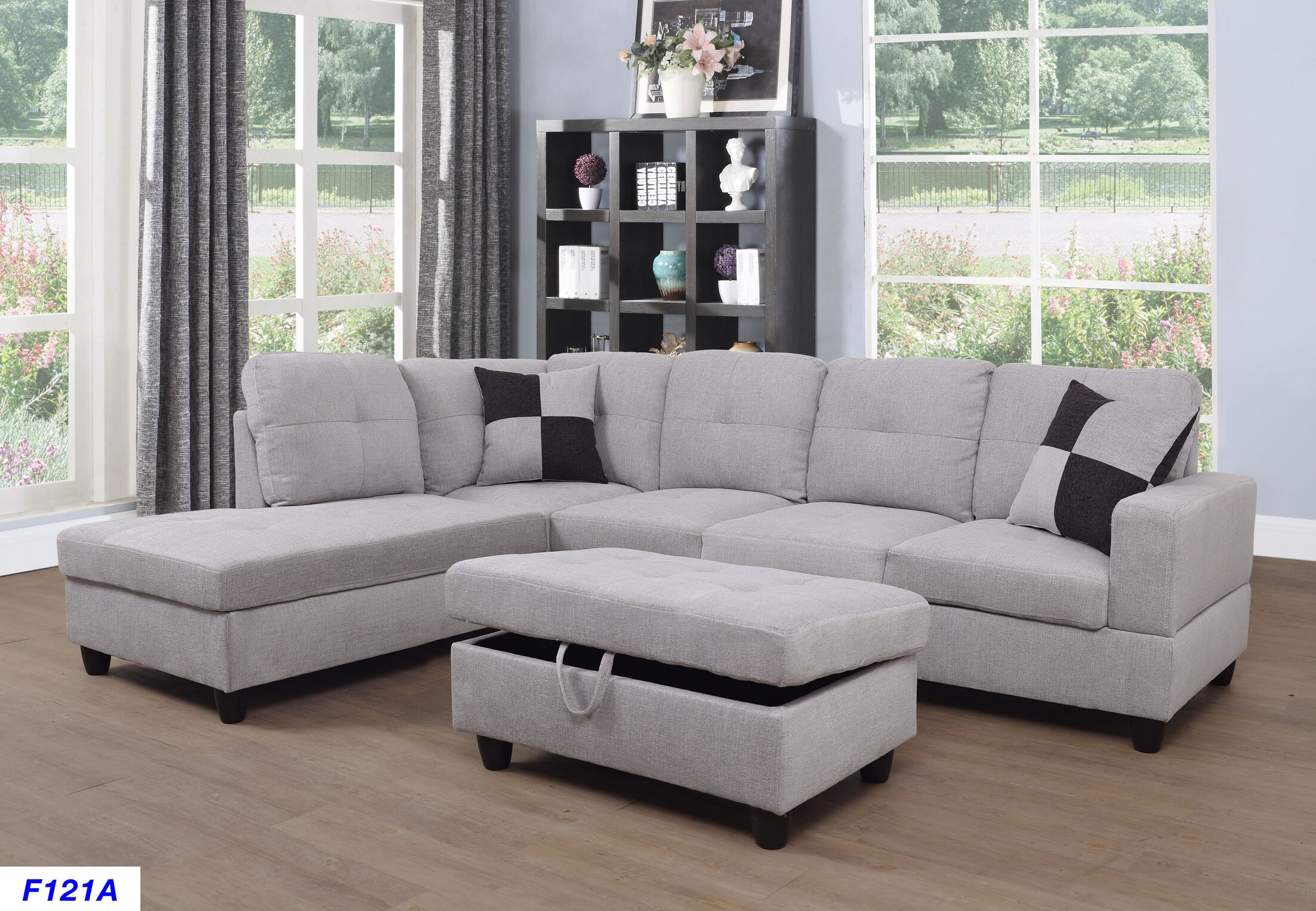 Mauzy Left Facing Sectional with Ottoman Upholstery: Beige