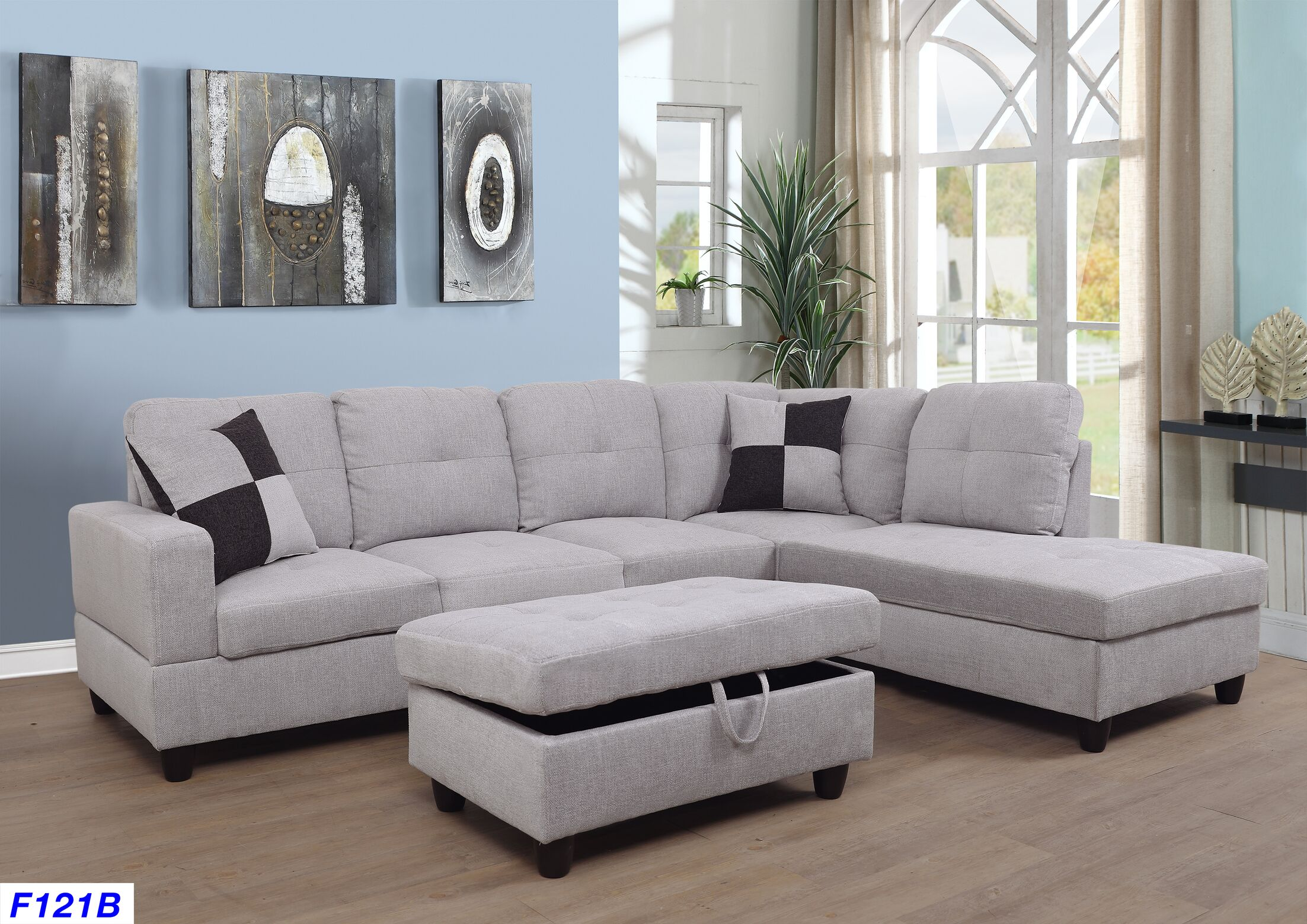 Mendoza Sectional with Ottoman Upholstery: Beige