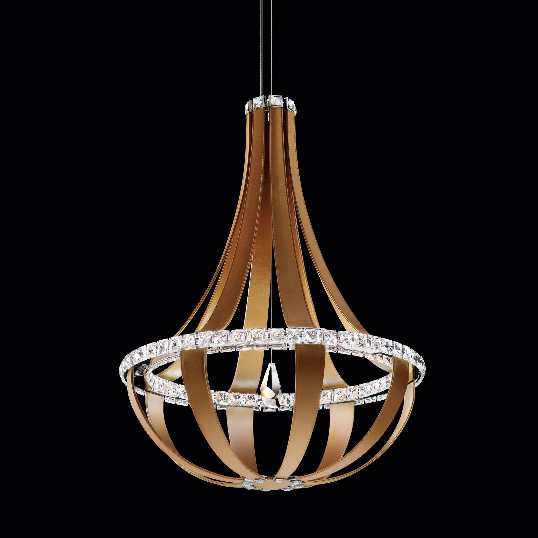 Crystal Empire 16-Light  LED Empire Pendant Base Finish: Grizzly Black, Color Temperature: 3000K