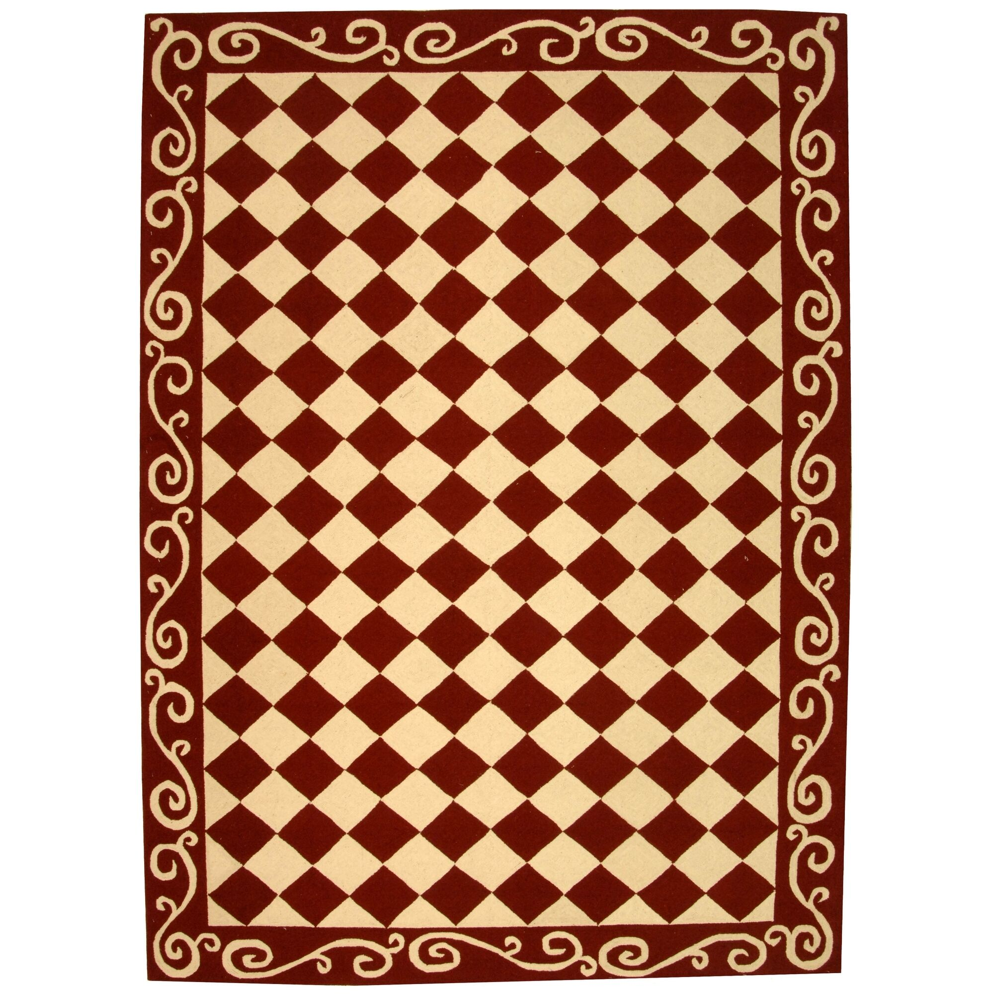 Brayton Red/Ivory Area Rug Rug Size: Rectangle 6' x 9'