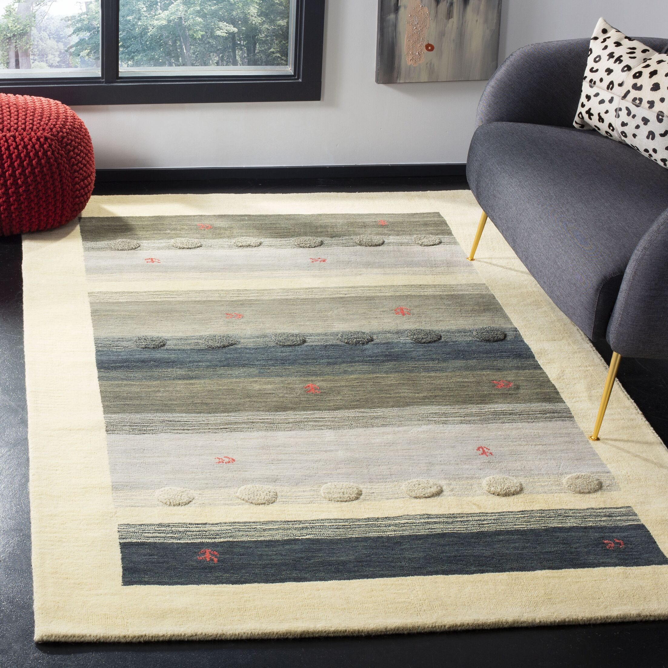 Labbe Hand-Woven Wool Cream/Gray Area Rug Rug Size: Rectangular 5' x 8'