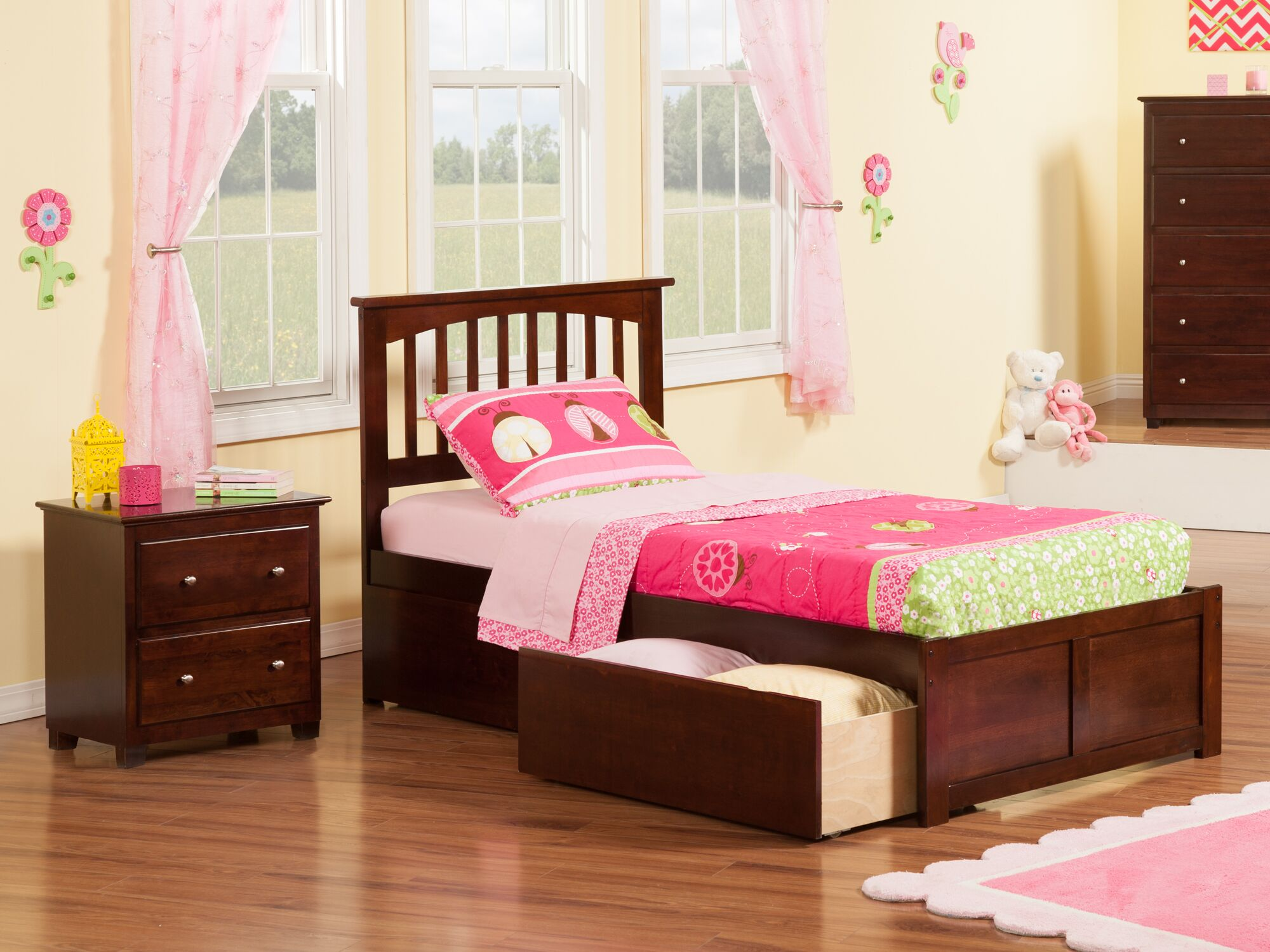 Pauline Platform 2 Piece Bedroom Set Bed Size: Twin, Color: Antique Walnut