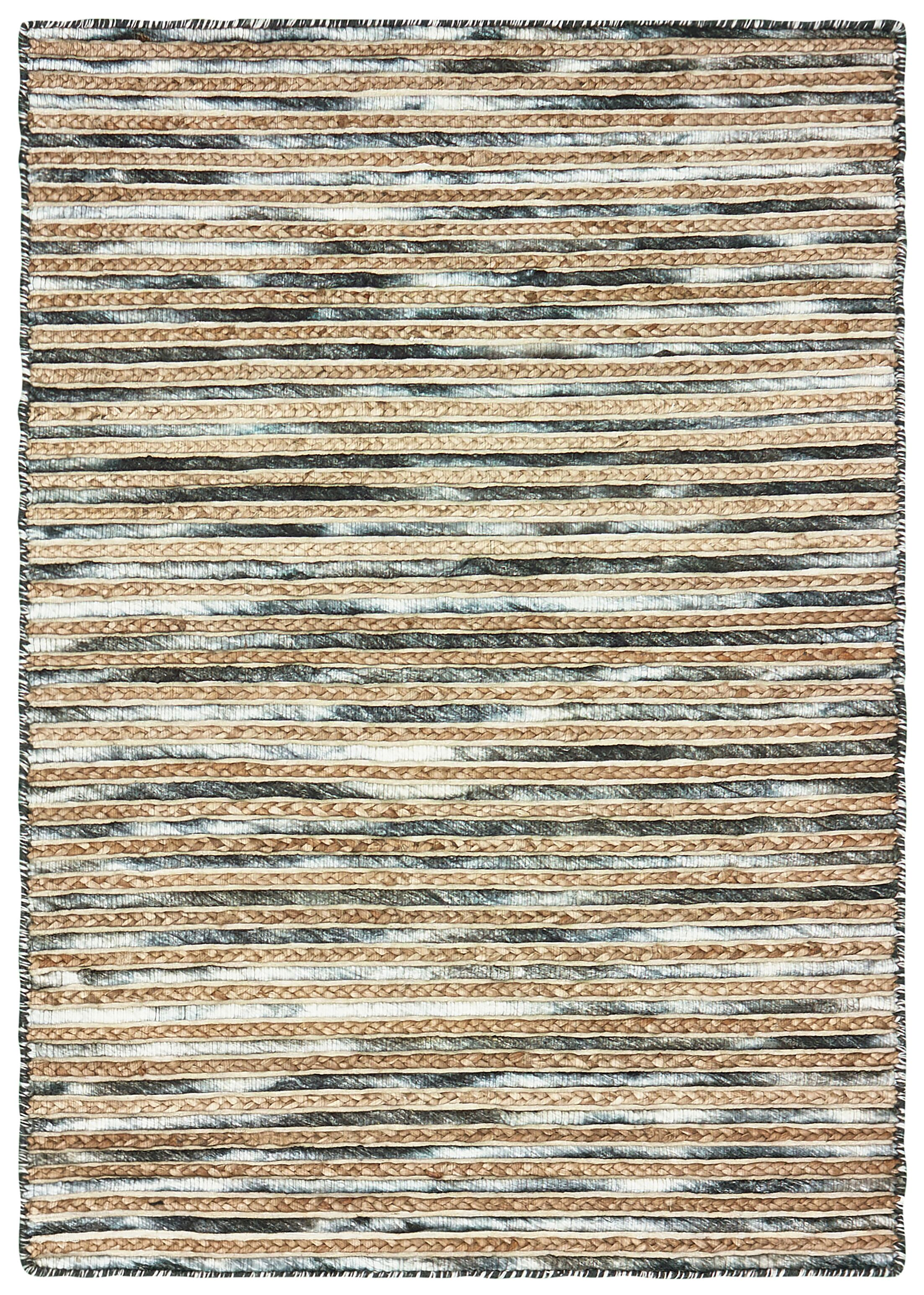 Vitagliano Striped Hand-Tufted Charcoal/Beige Area Rug Rug Size: Rectangle 5' x 7'9