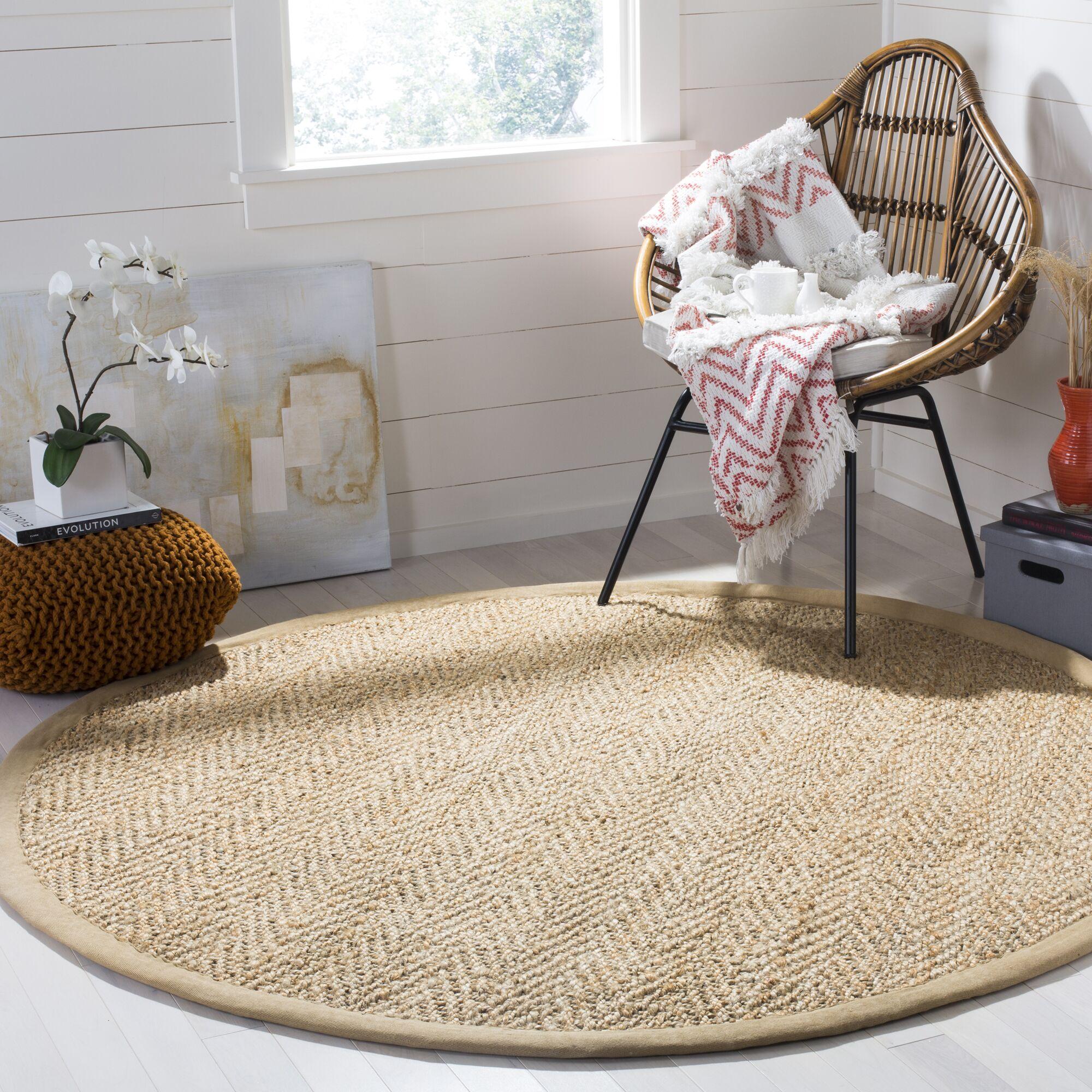 Claudette Fiber Hand-Woven Natural Area Rug Rug Size: Round 6'