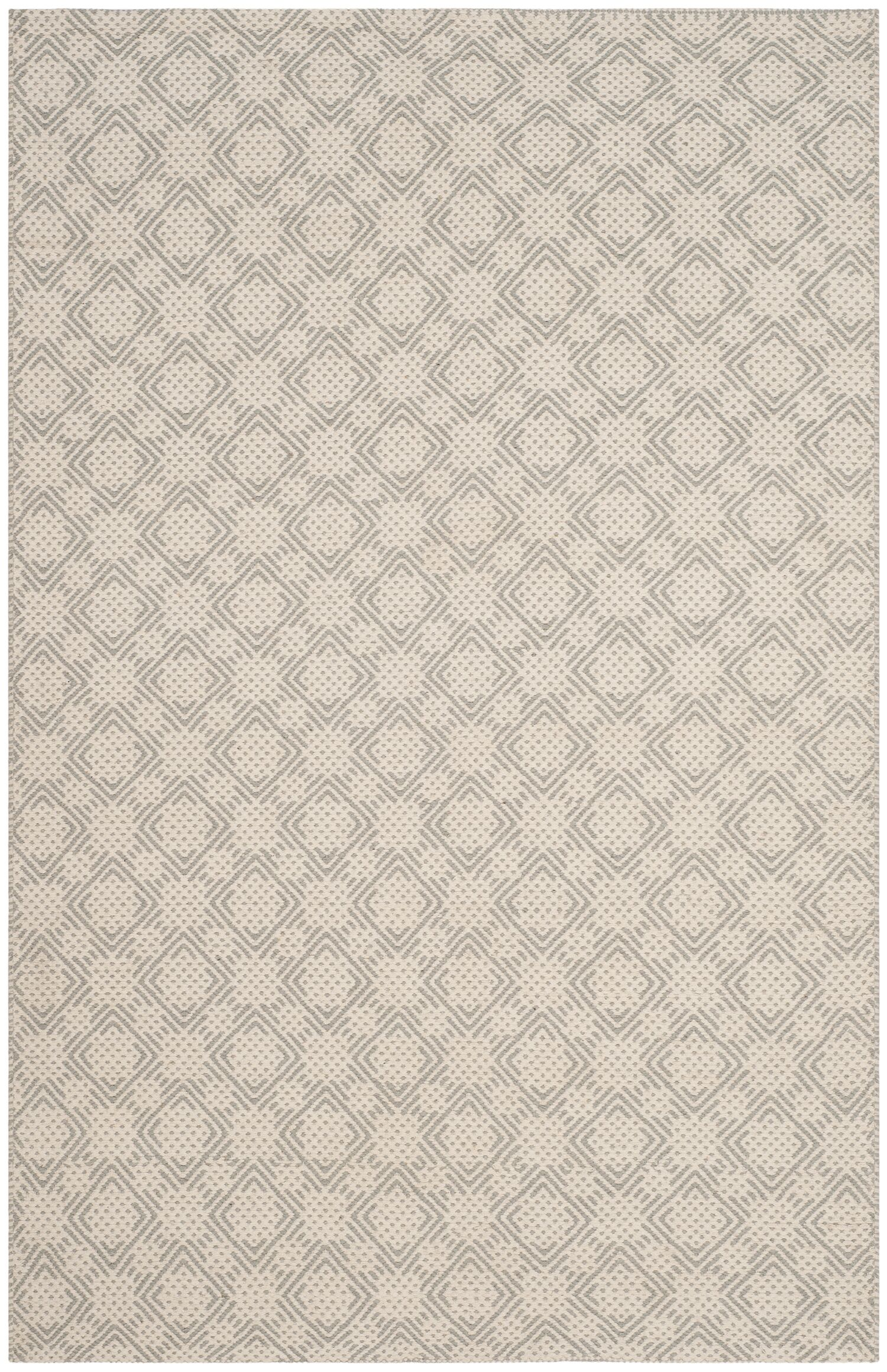 Lorain Cotton Hand-Woven Gray/Ivory Area Rug Rug Size: Rectangle 4' x 6'