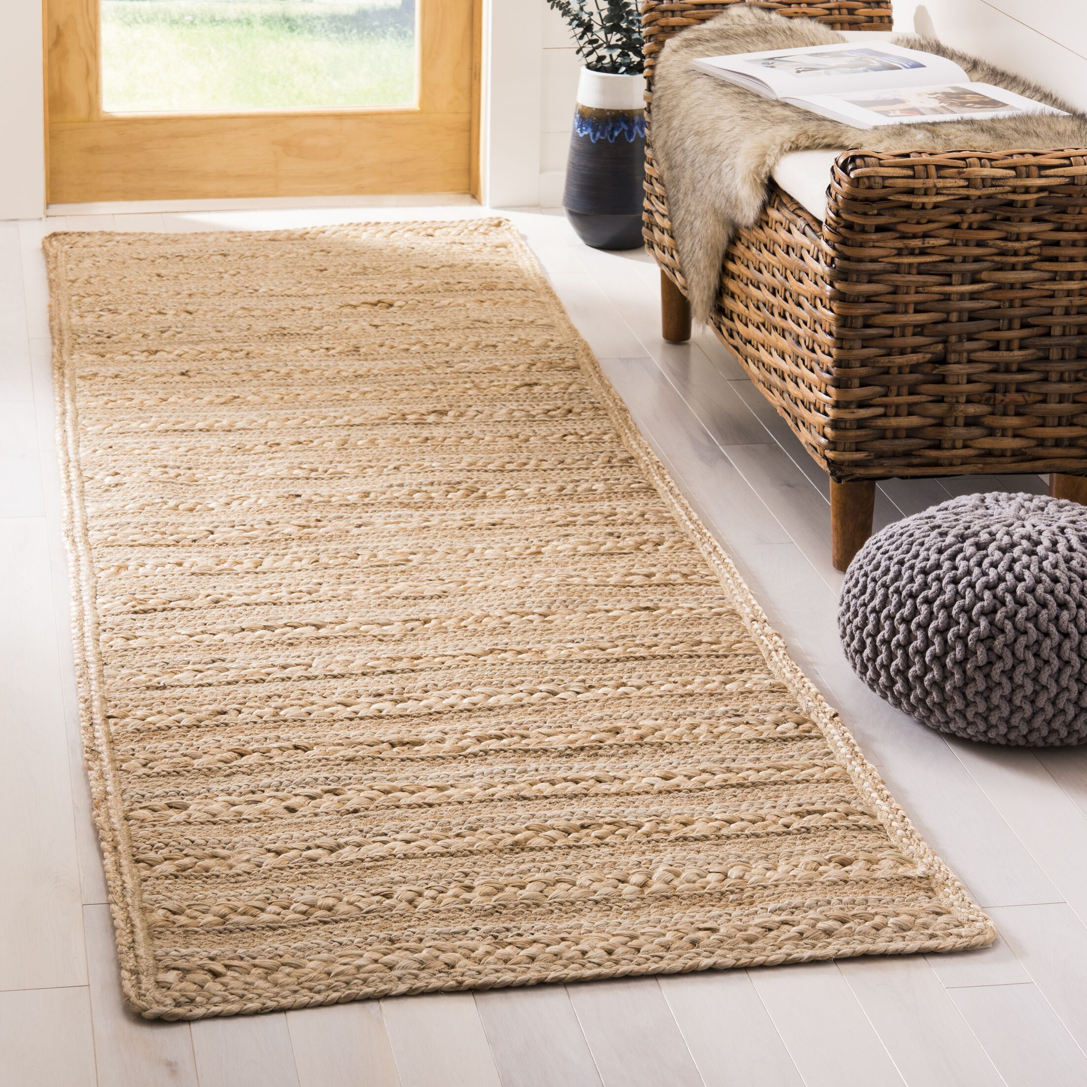 Kingfield Hand-Woven Natural Area Rug Rug Size: Rectangle 2'6