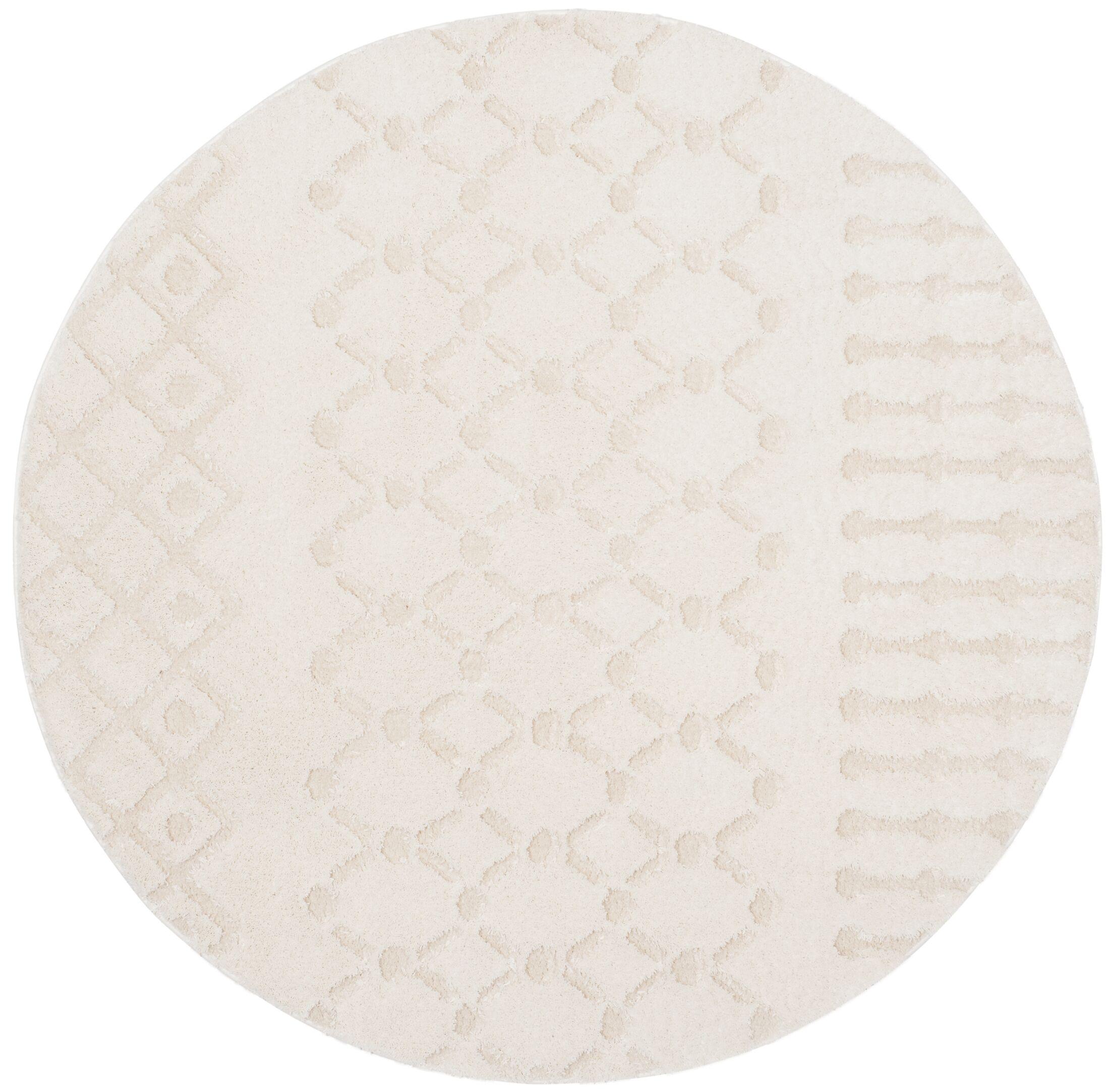 Burnvale Creme Area Rug Rug Size: Round 6'7