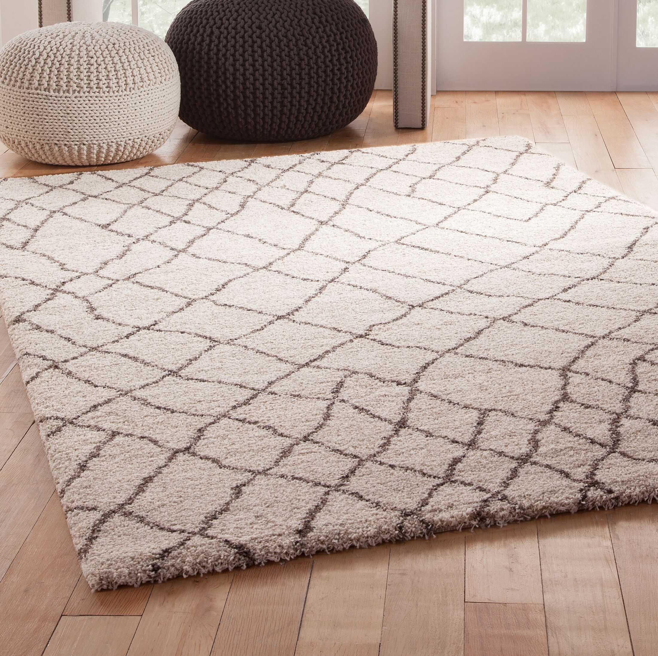 Haverstraw Ivory/Brown Area Rug Rug Size: 7'10