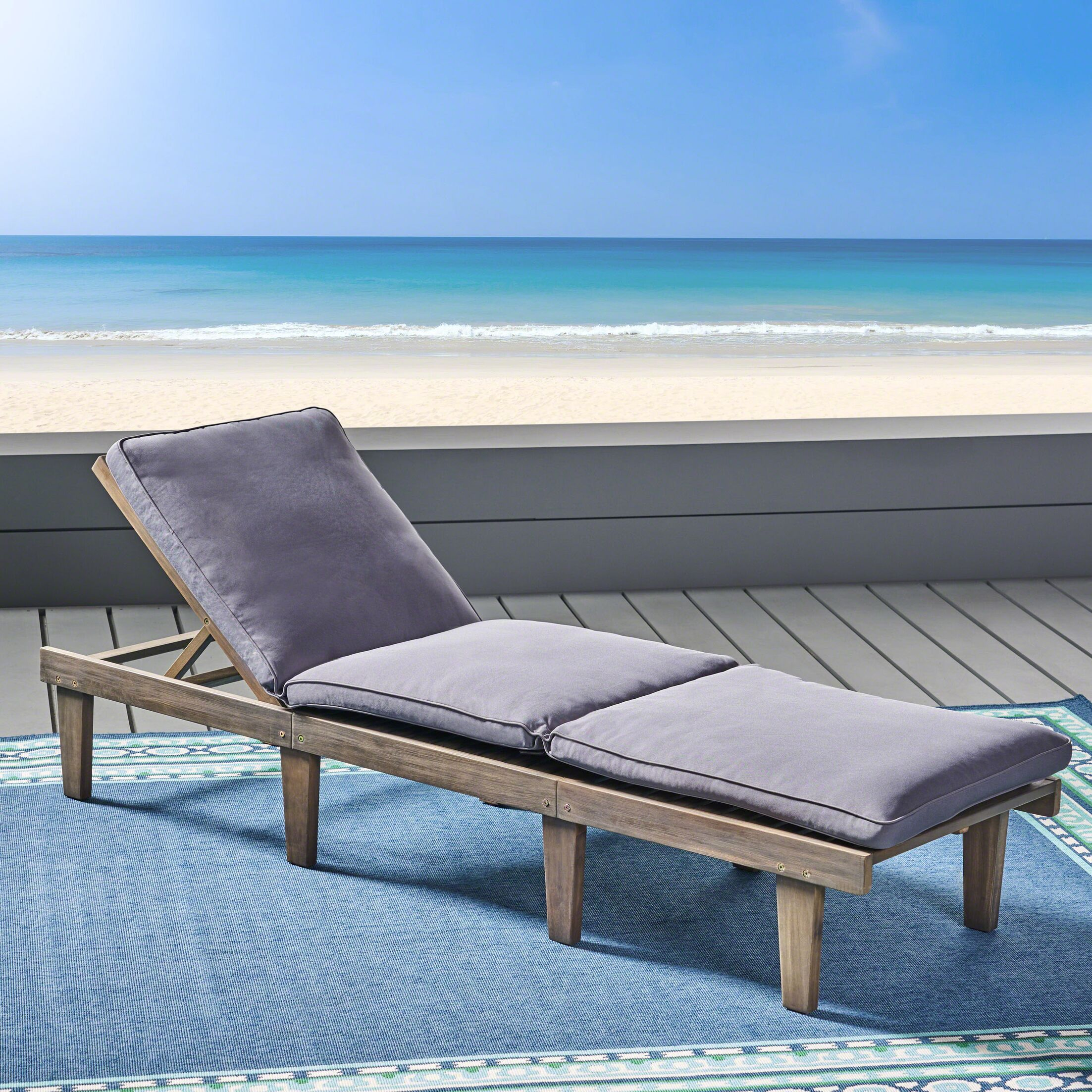 Poindexter Outdoor Chaise Lounge with Cushion