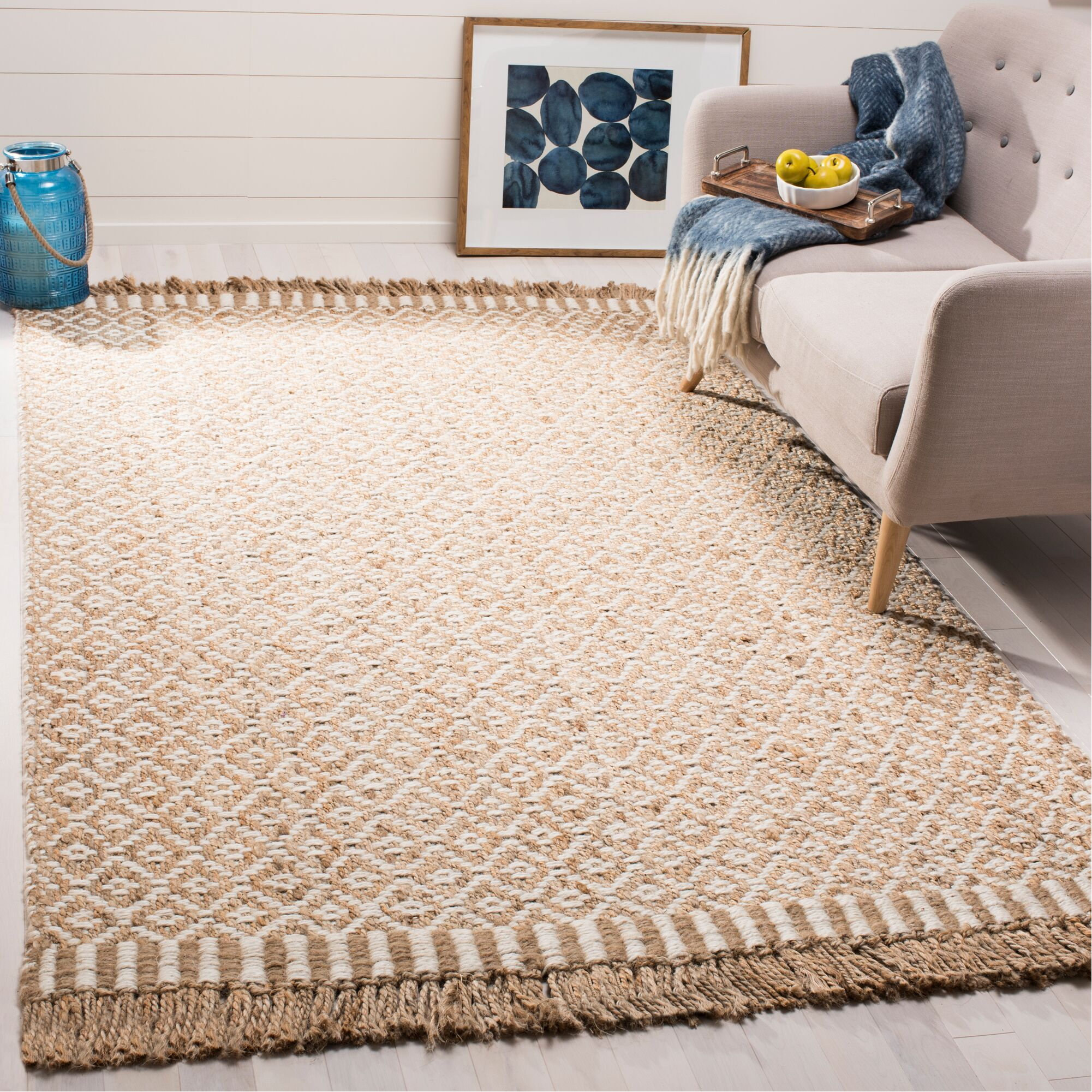 Nicholson Fiber Hand-Woven Natural/Ivory Area Rug Rug Size: Rectangle 5' x 8'