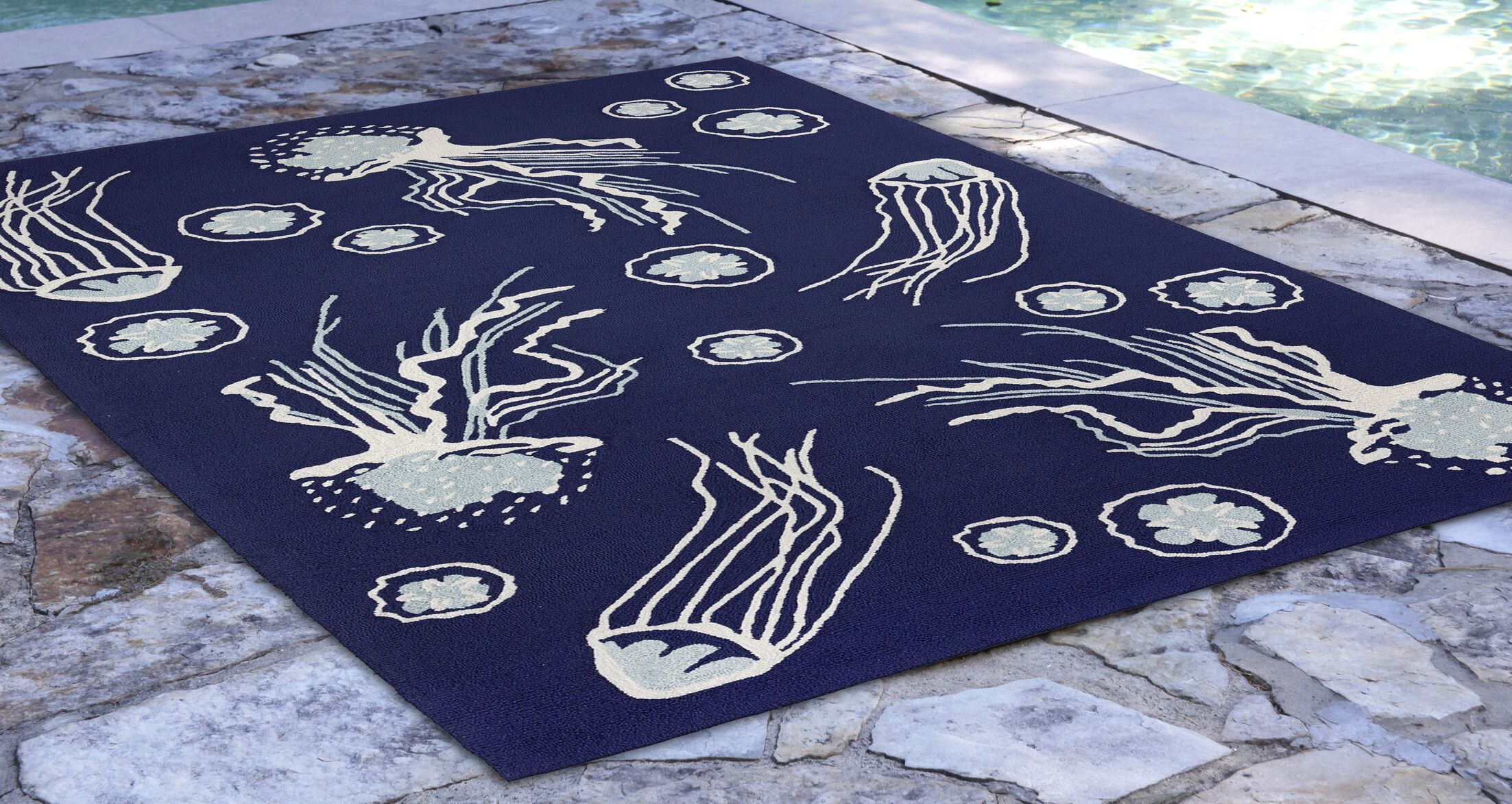 Bluegrass Jellies Hand-Tufted Navy Indoor/Outdoor Area Rug Rug Size: Rectangle 3'6