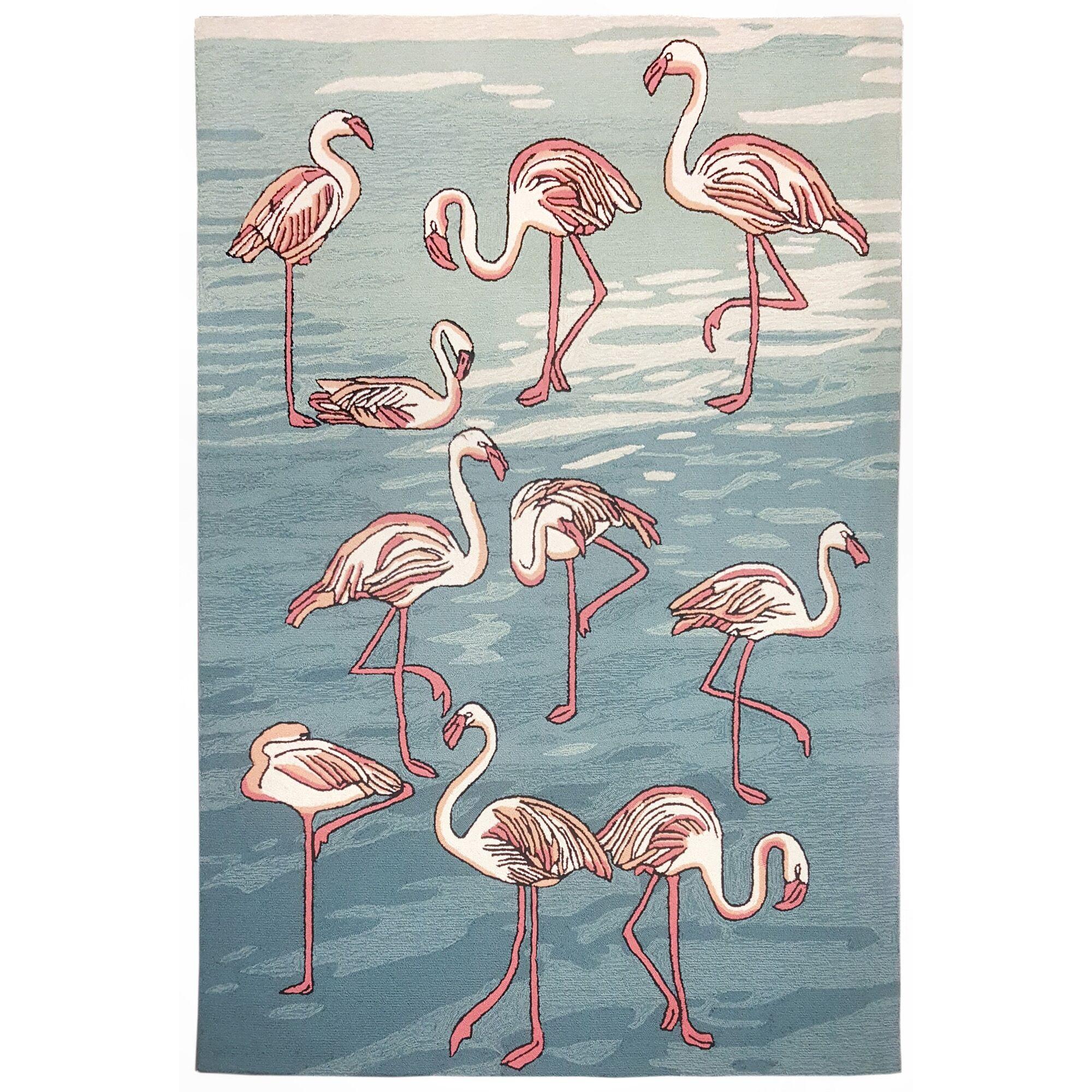 Boller Flamingo Handmade Blue Indoor/Outdoor Area Rug Rug Size: Rectangle 5' x 7'6