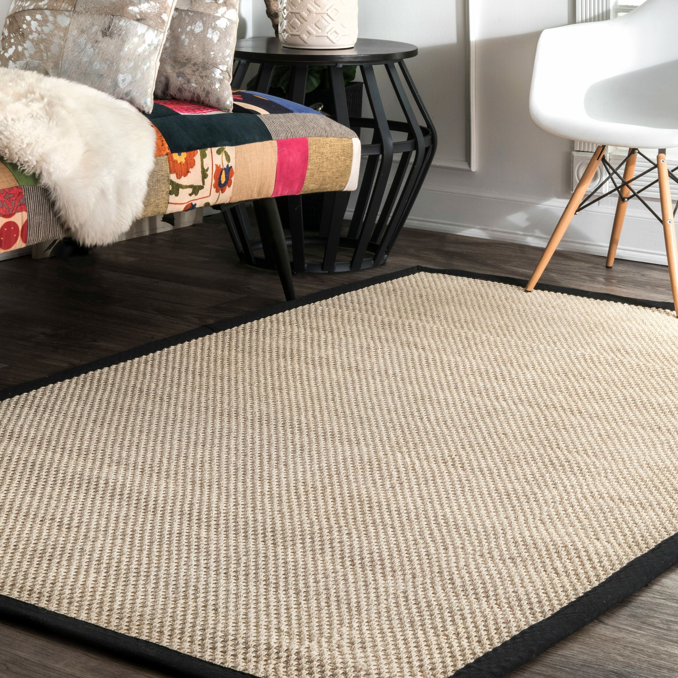 Garan Ivory/Black Area Rug Rug Size: Rectangle 6' x 9'