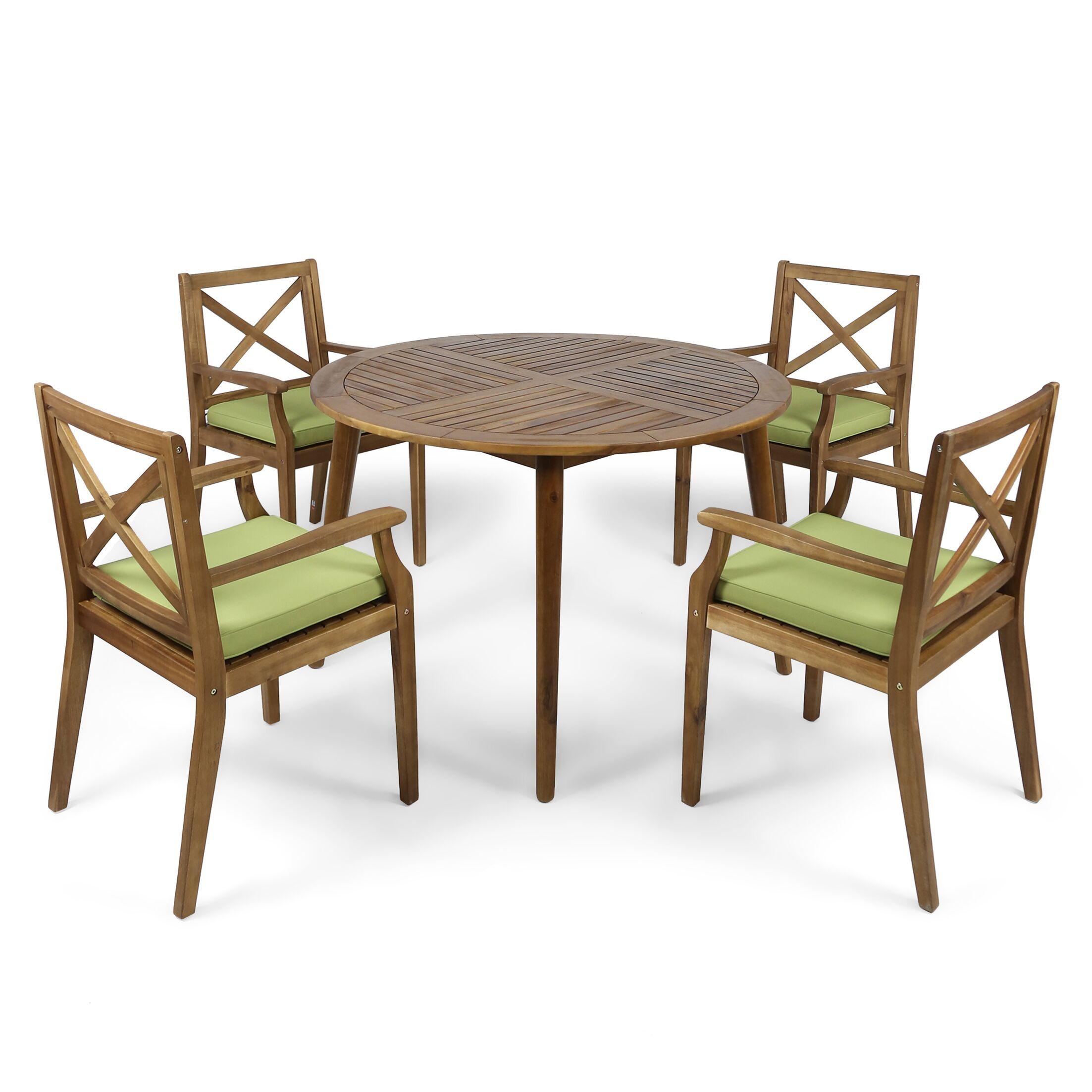 Geneva 5 Piece Teak Dining Set with Cushions Cushion Color: Green