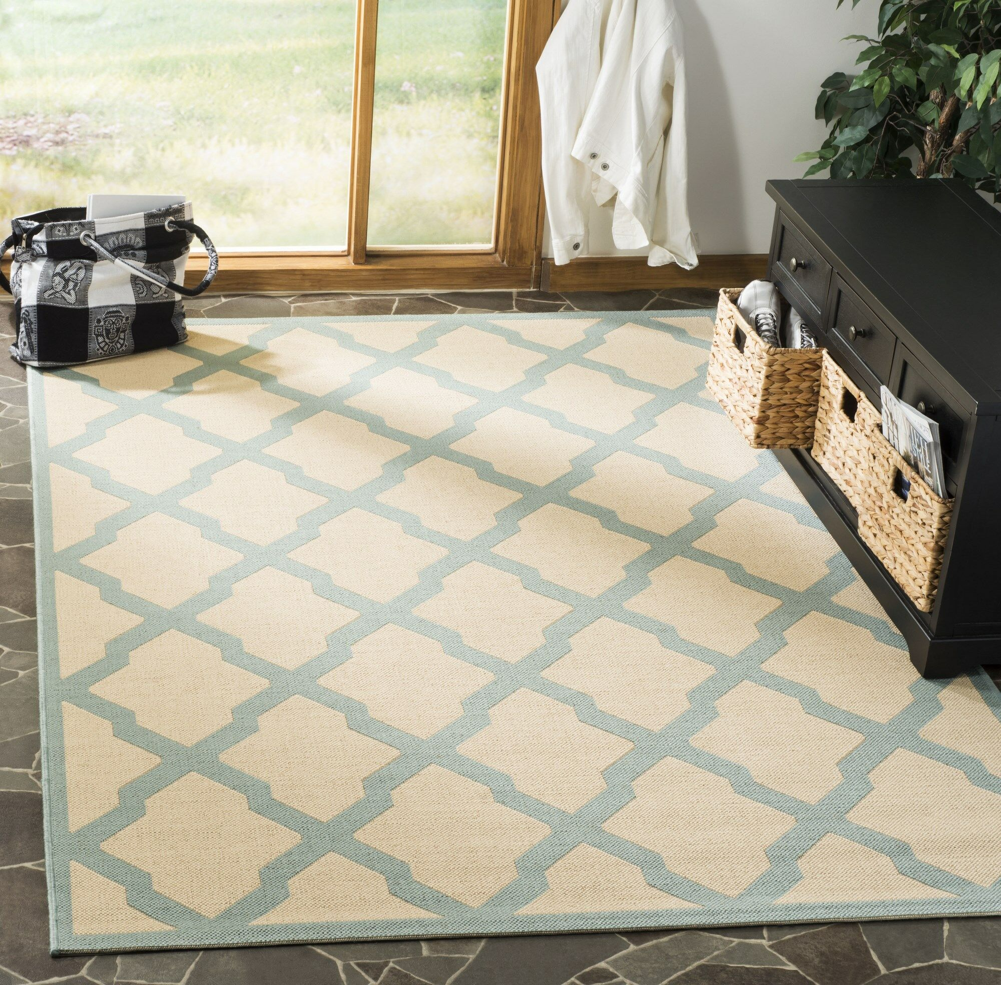 Cashion Cream/Aqua Area Rug Rug Size: Rectangle 5'1