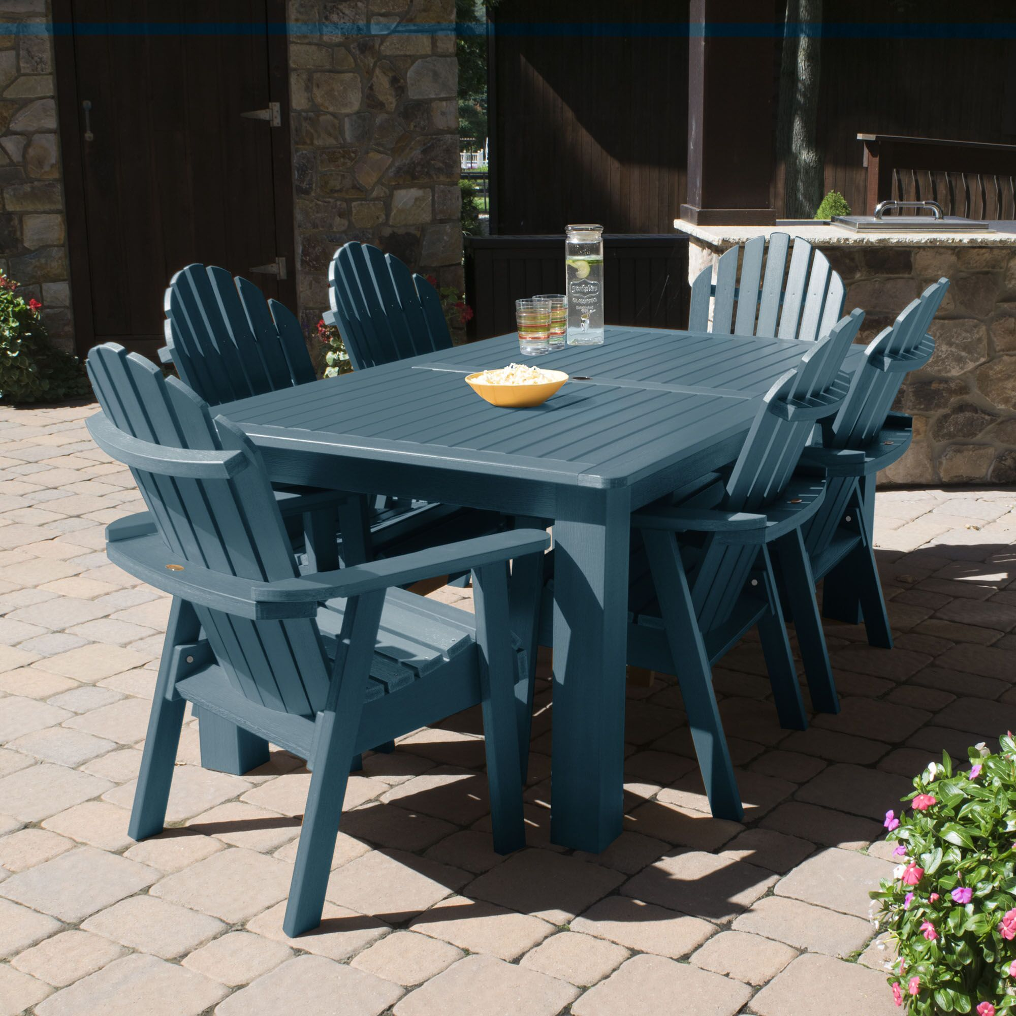 Camacho 7 Piece Dining Set Color: Nantucket Blue, Table Top Size: 40.5'' H x 84'' W x 115'' L