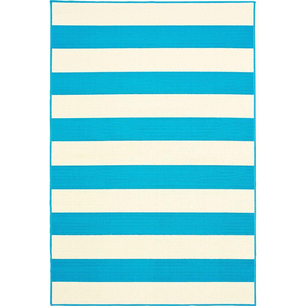 Deverick Stripe Blue/White Indoor/Outdoor Area Rug Rug Size: 7'10