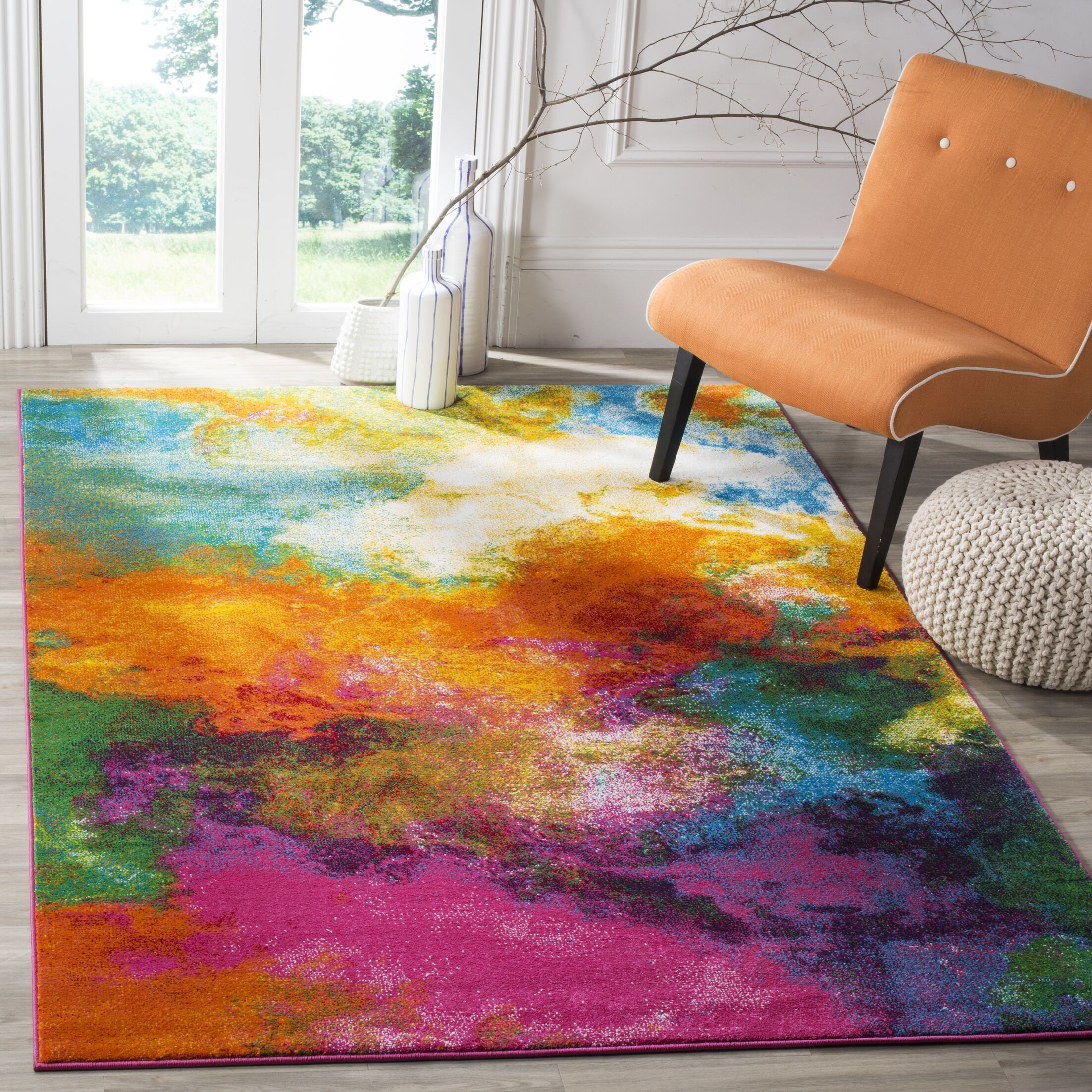 Ciara Orange/Green Area Rug Rug Size: Rectangle 5'3