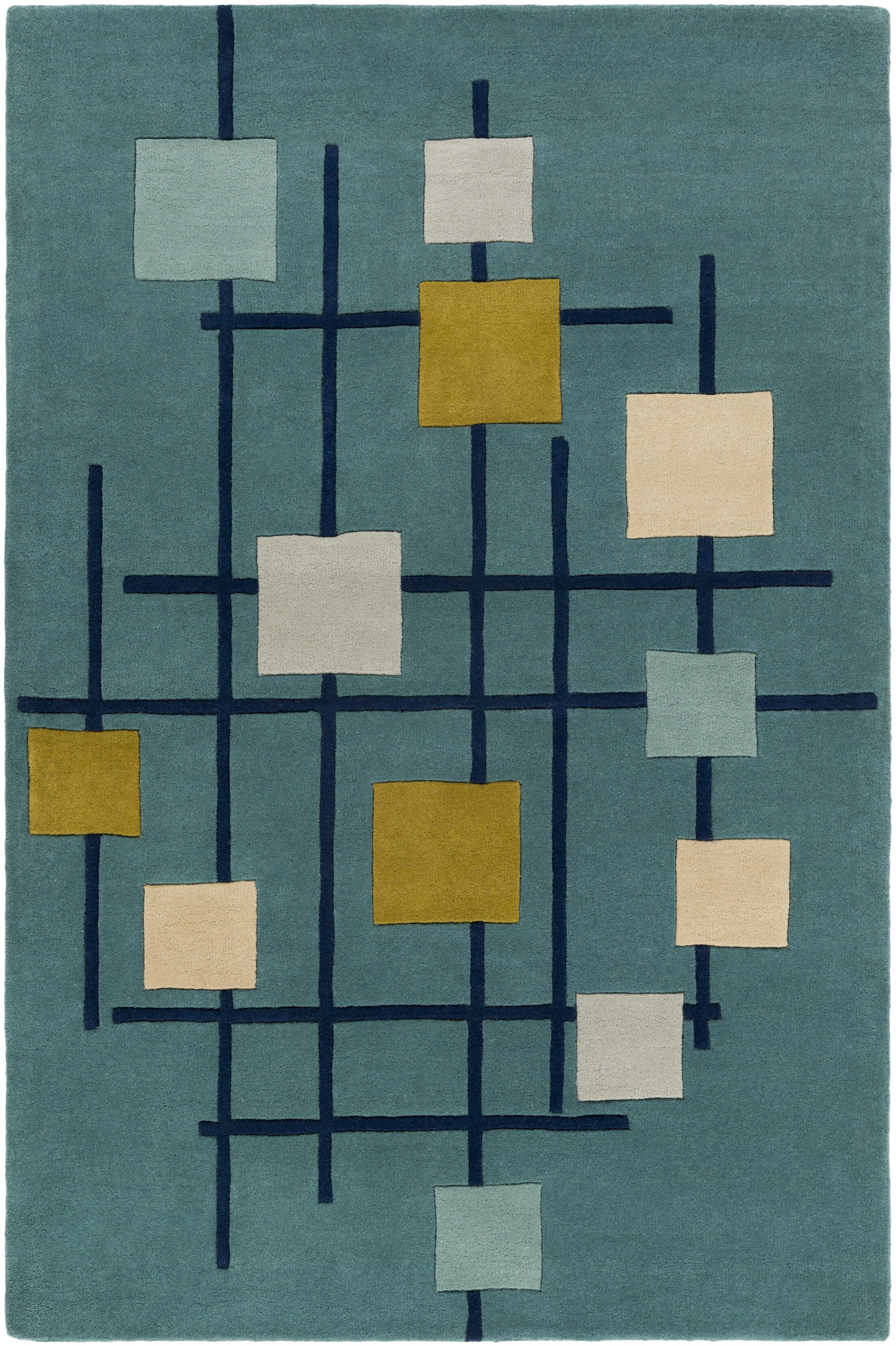 Dewald Hand-Tufted Teal Blue Area Rug Rug Size: Rectangle 6' x 9'