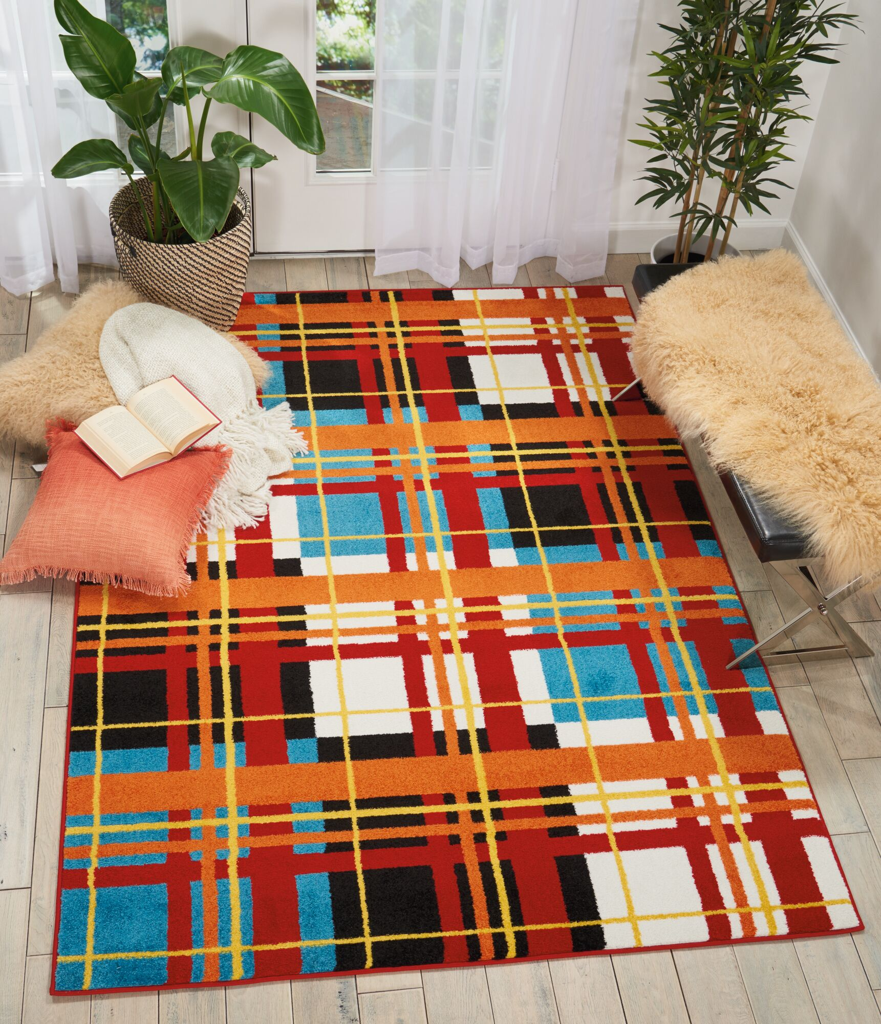 Quattrucci Red/Orange Area Rug Rug Size: Rectangle 5'3