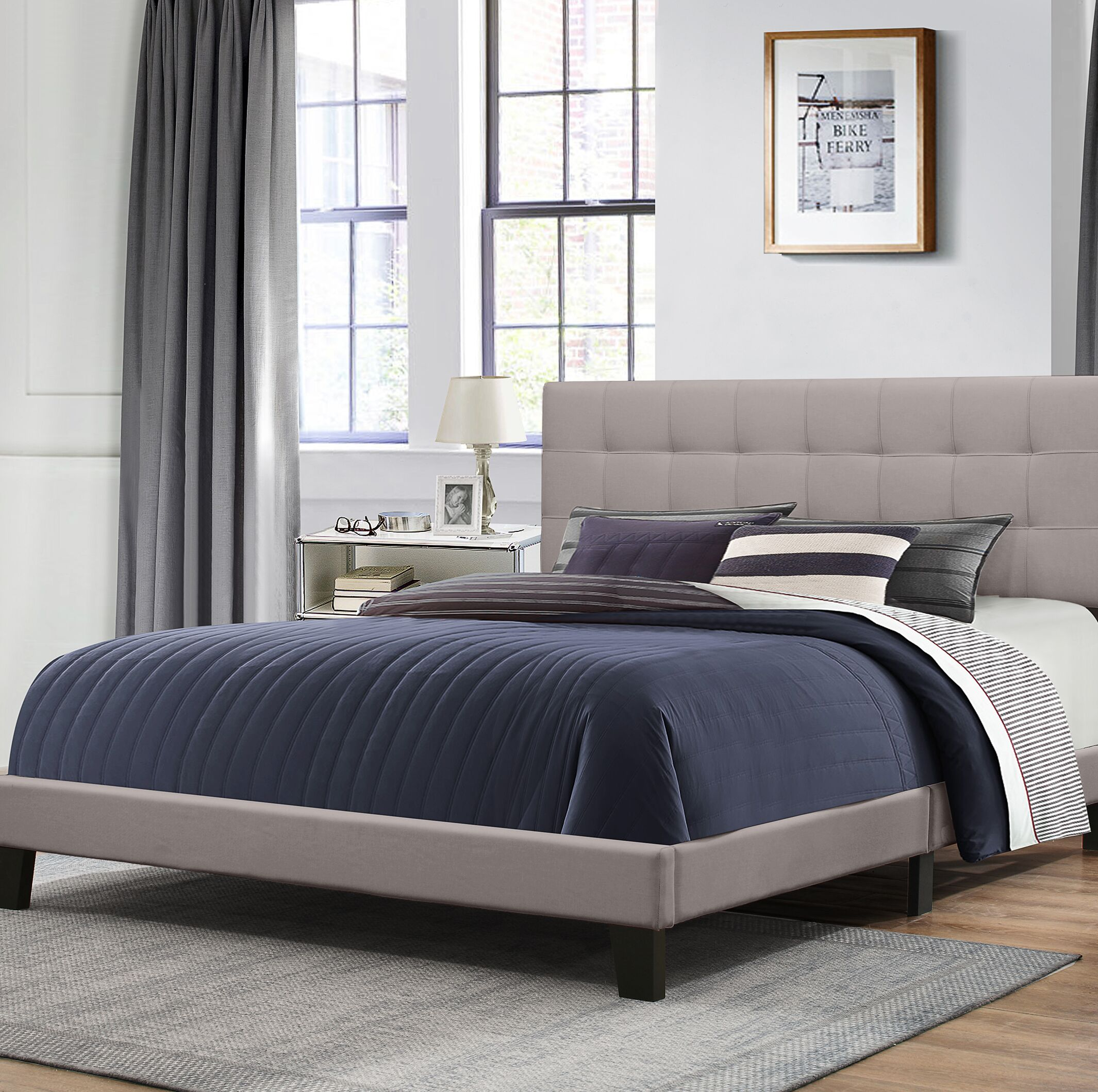 Decker Upholstered Panel Bed Size: King, Color: Gray