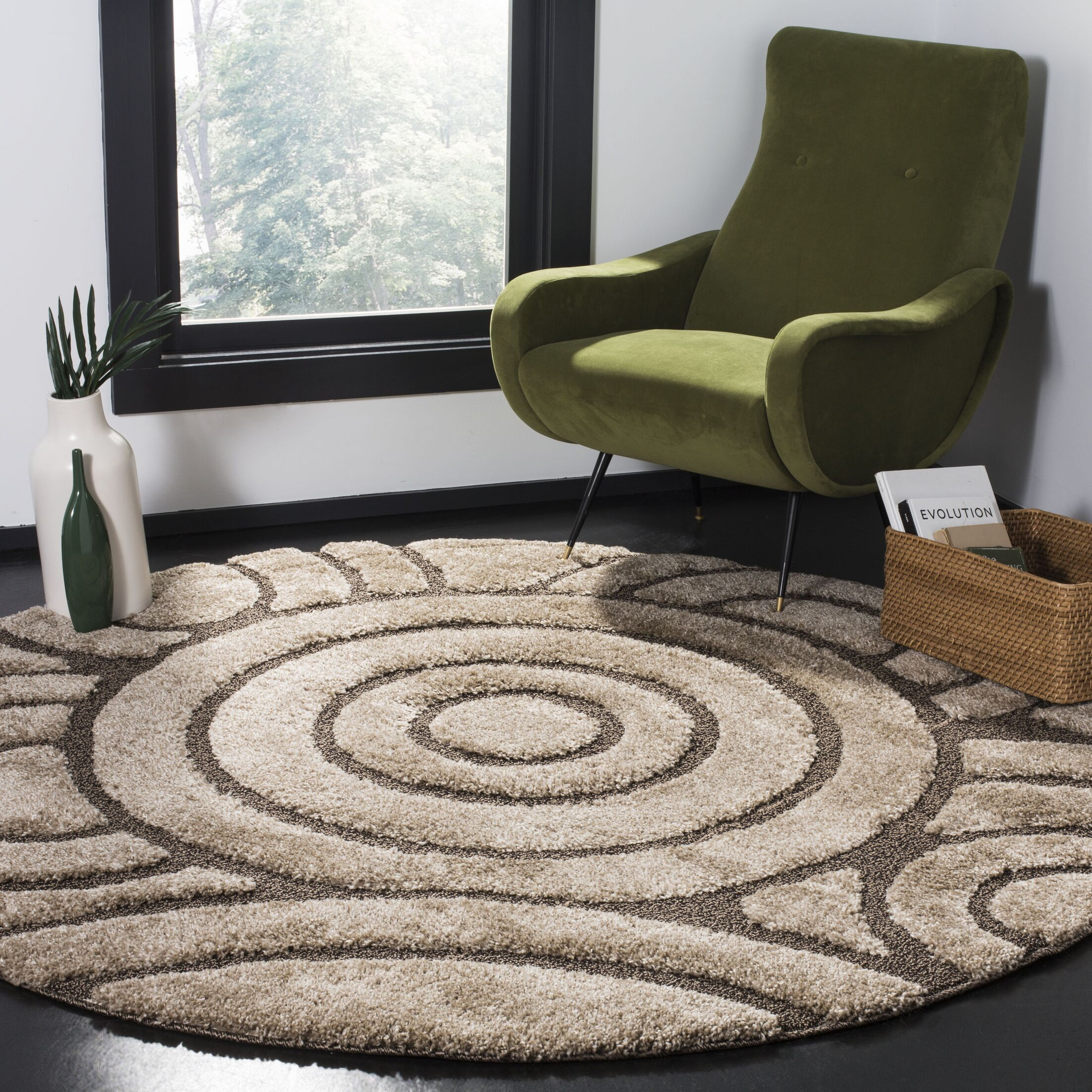 Mckay Brown Area Rug Rug Size: Round 6'7
