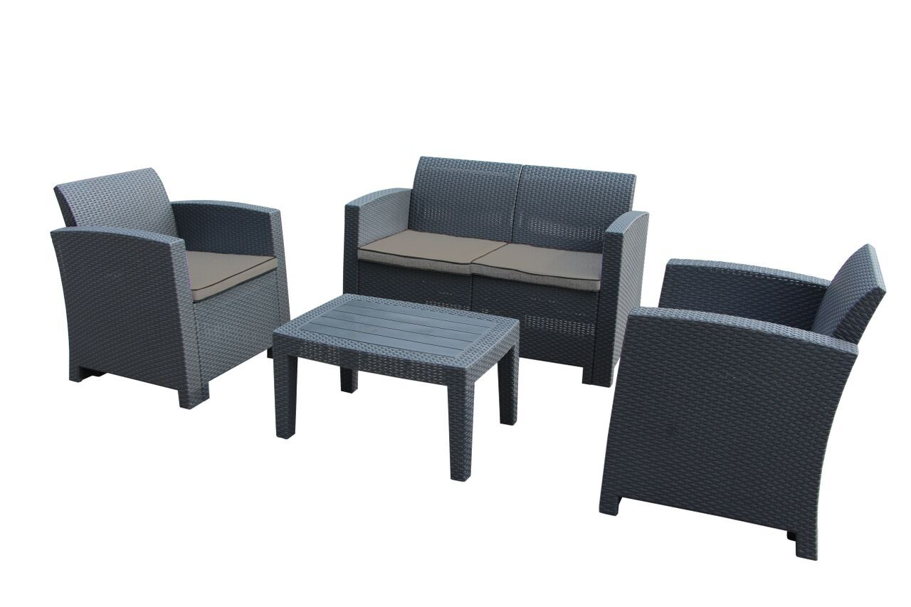Pelletier 4 Piece Sofa Set with Cushions Frame Color: Charcoal Gray