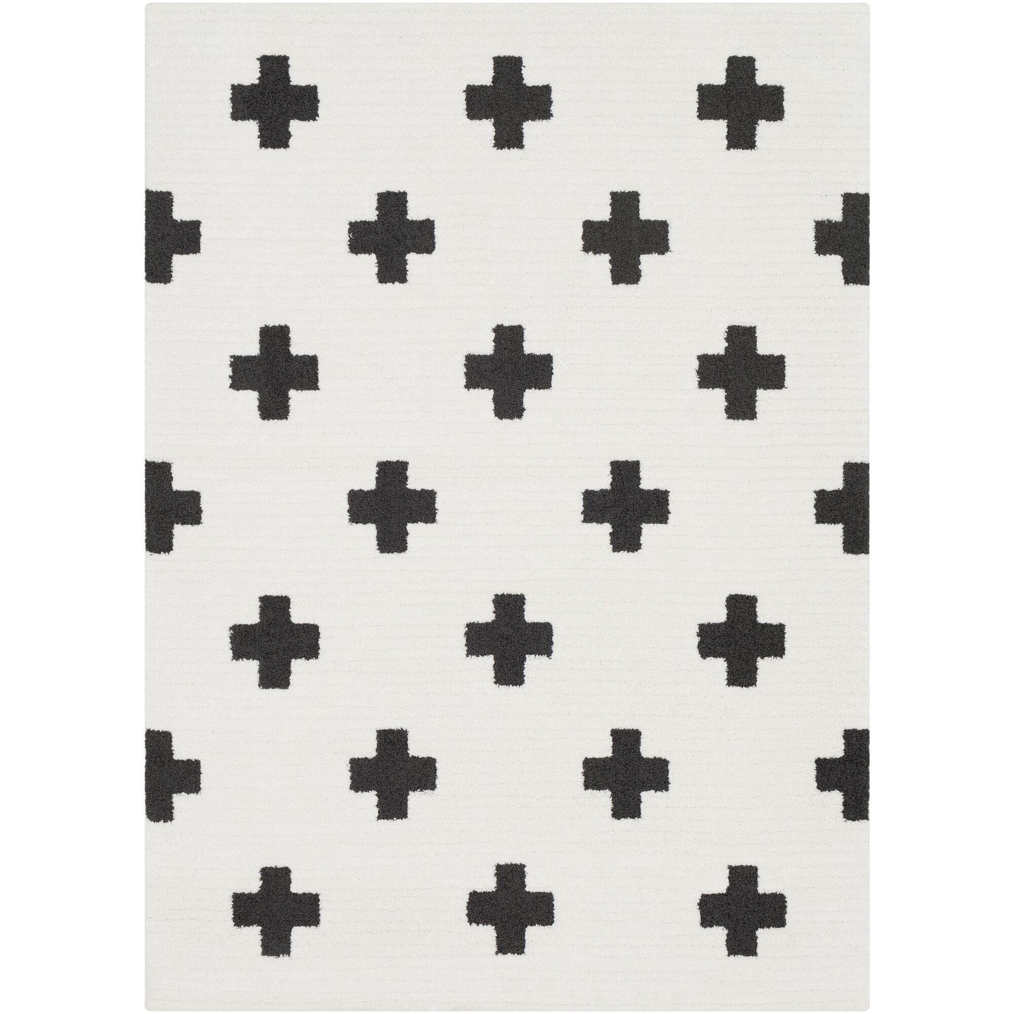 Elissa Boho Crafted Charcoal/White Area Rug Rug Size: Rectangle 6'7