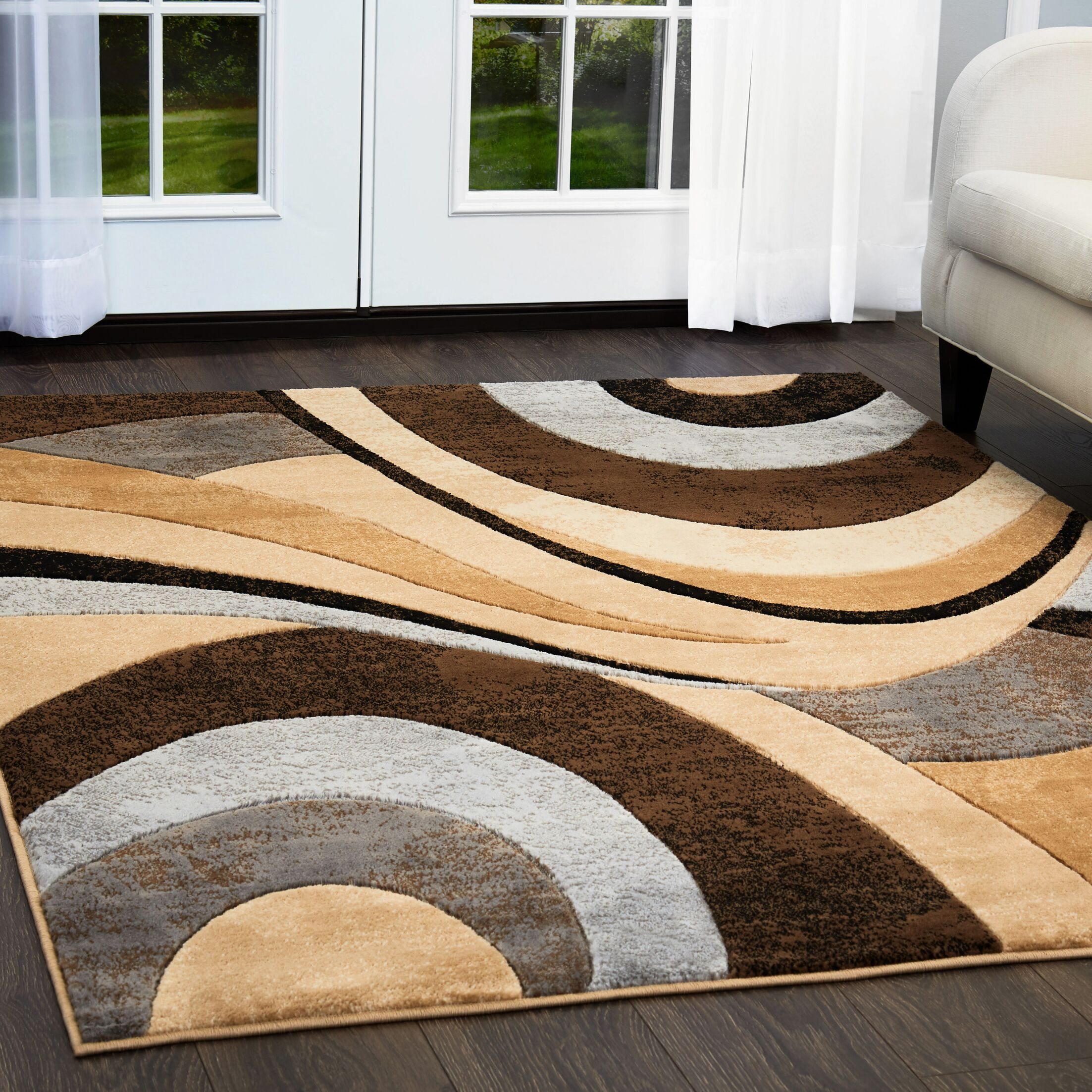 Christien Gray/Brown Area Rug Rug Size: 7'10