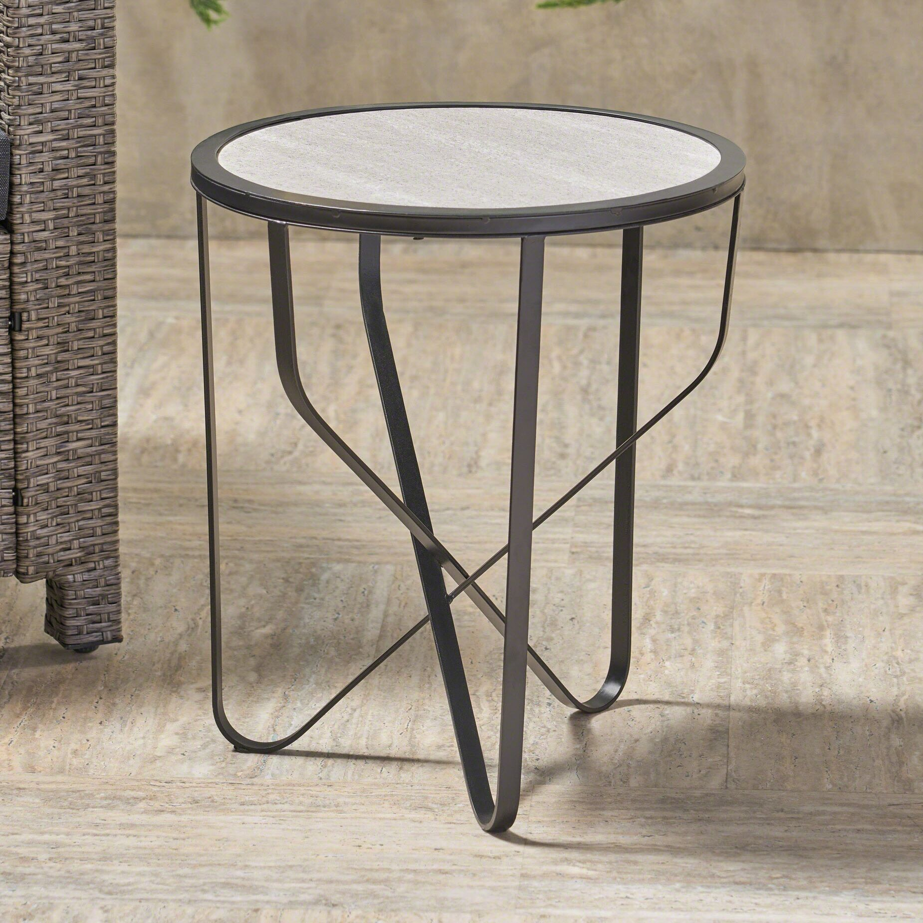 Melby Iron Side Table