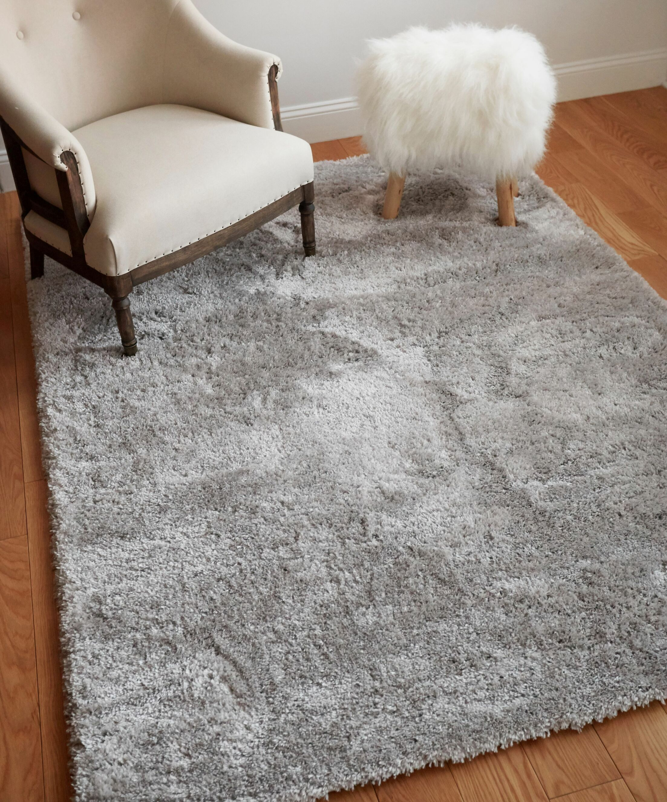 Cervantez Modern Solid Thick Power Loom Silver Area Rug Rug Size: 9'3