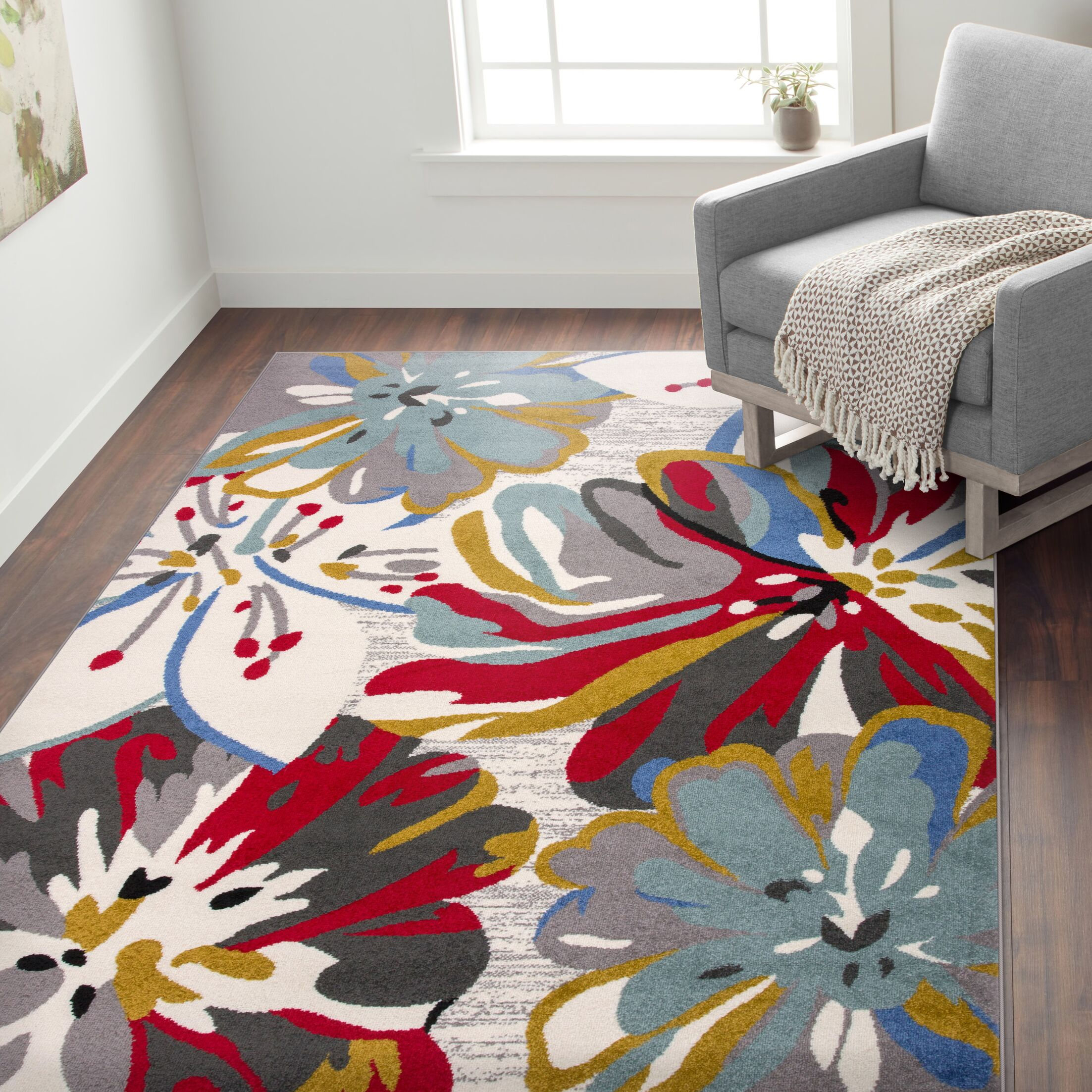 Carlisle Contemporary Floral Blue/Cream Area Rug Rug Size: Rectangle 7'10