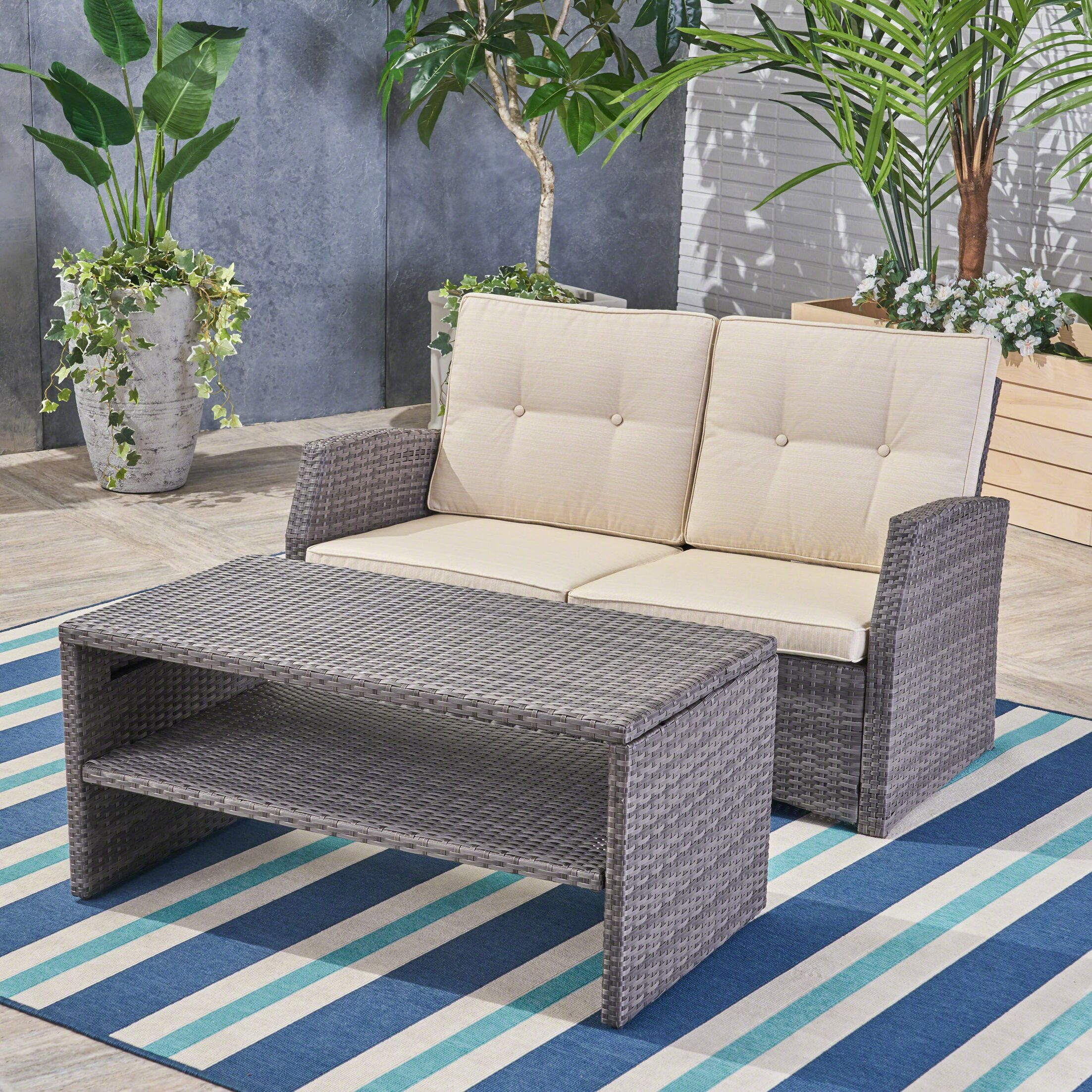Harrel 2 Piece Rattan Sofa Seating Group with Cushions Frame Finish: Gray