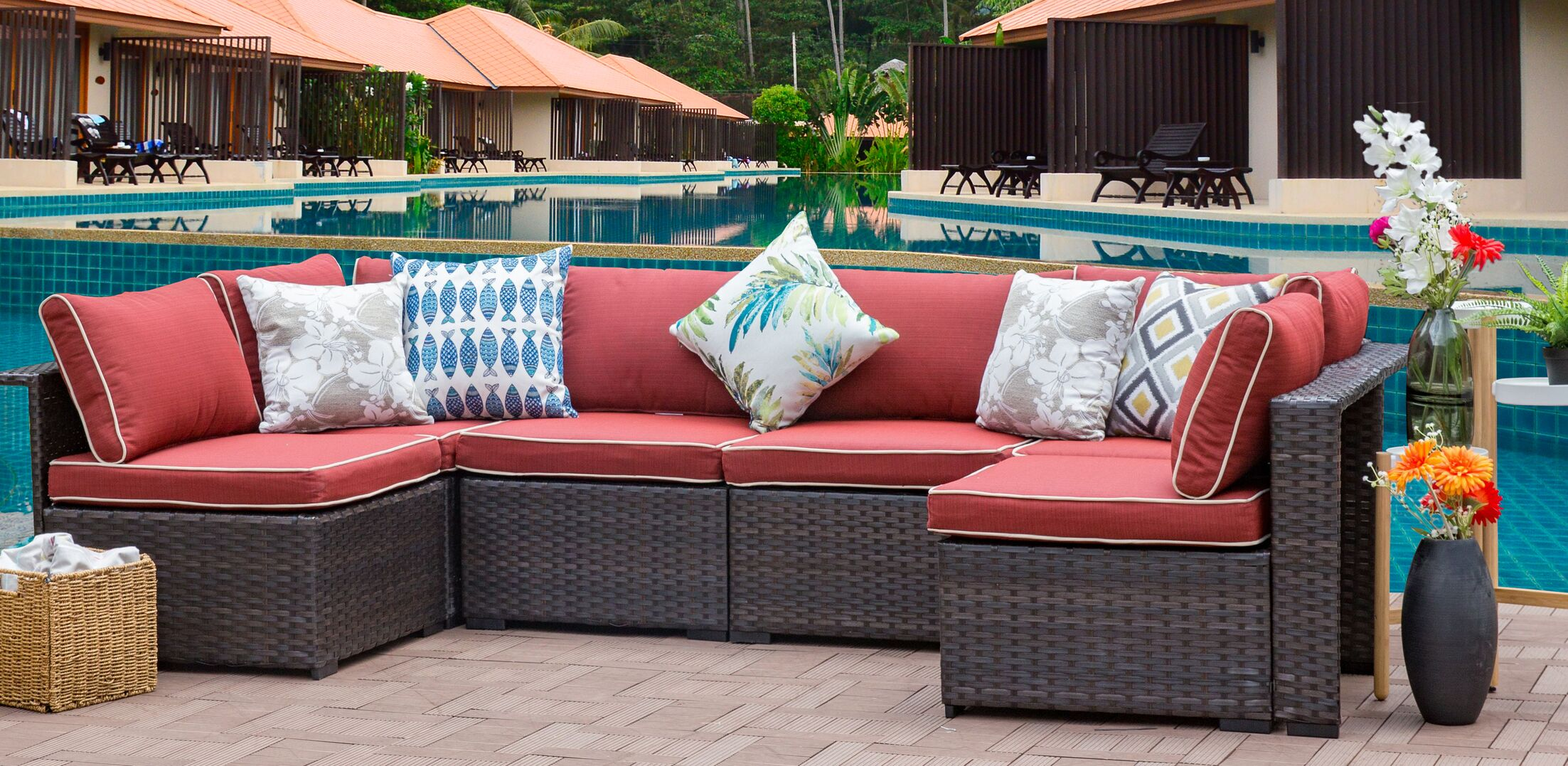Alycia 6 Piece Sectional Set with Cushions Cushion Color: Red