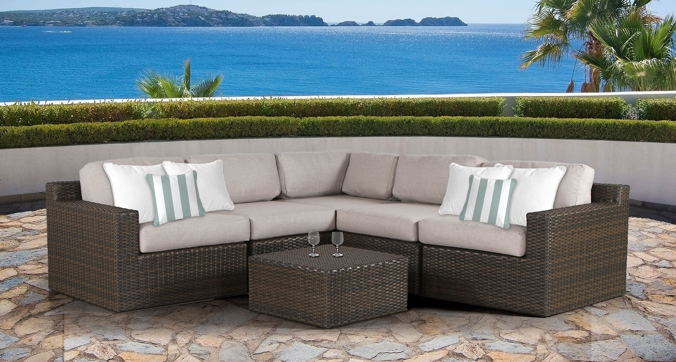 Sabin 6 Piece Sectional Set with Cushions Frame Color: Gray