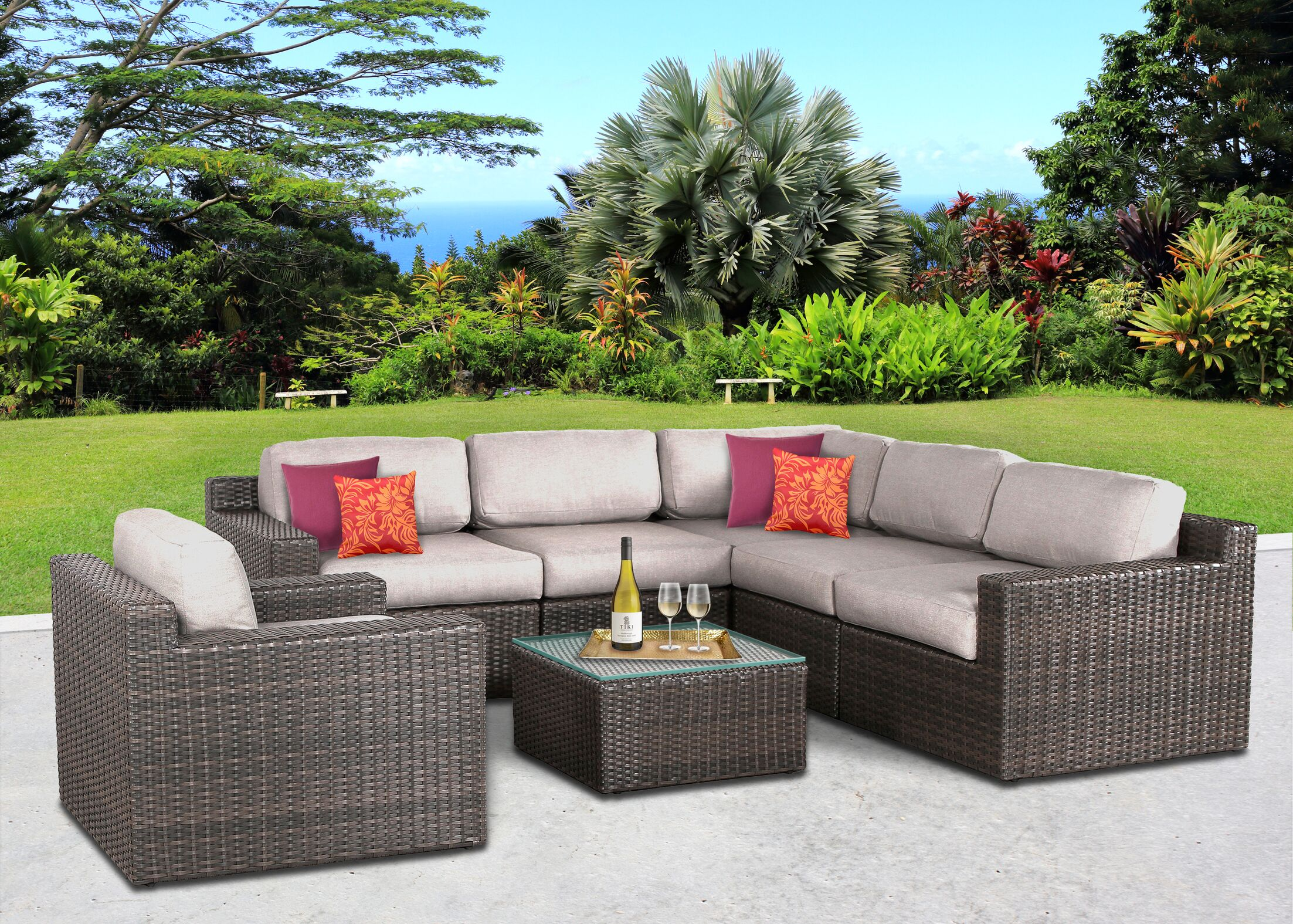 Sabin 7 Piece Sectional Set with Cushions Frame Color: Gray