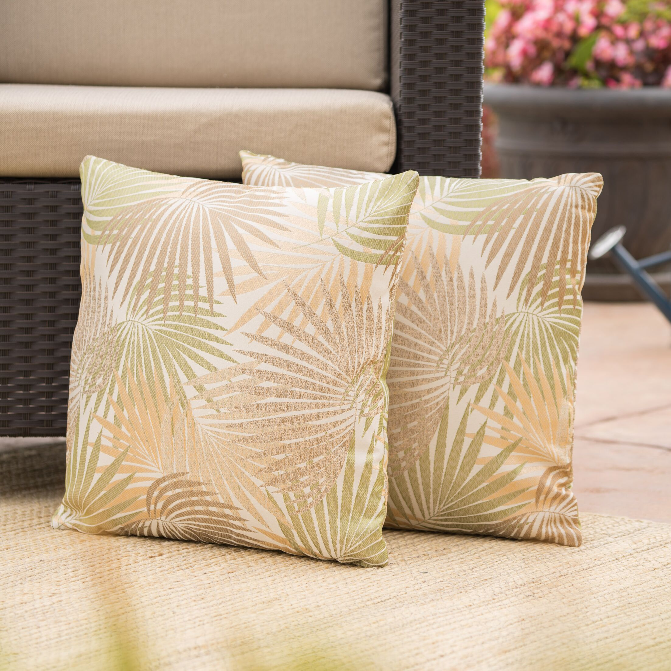Danae Outdoor Throw Pillow Color: Sand