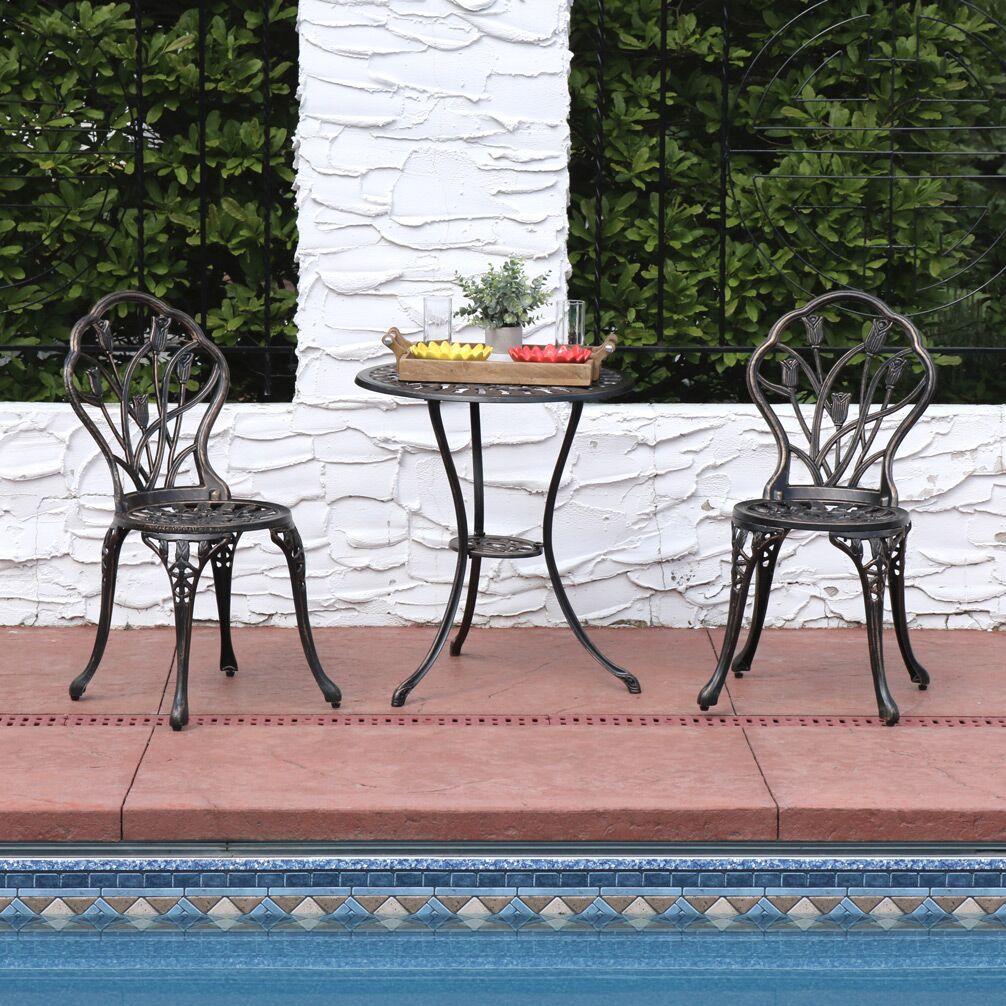 Moravia Outdoor Garden Patio Cast Aluminum 3-Piece Bistro Set Color: Copper