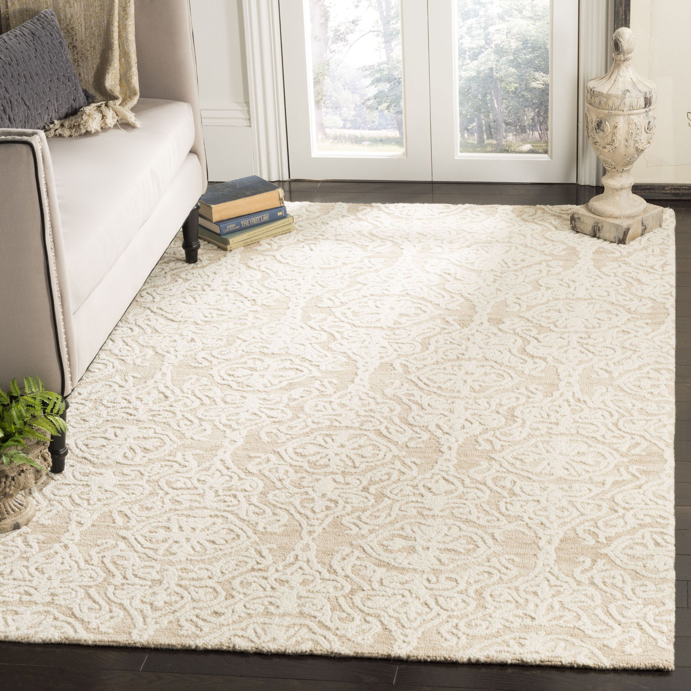 Deidamia Hand-Woven Wool Beige/Ivory Area Rug Rug Size: Square 6'
