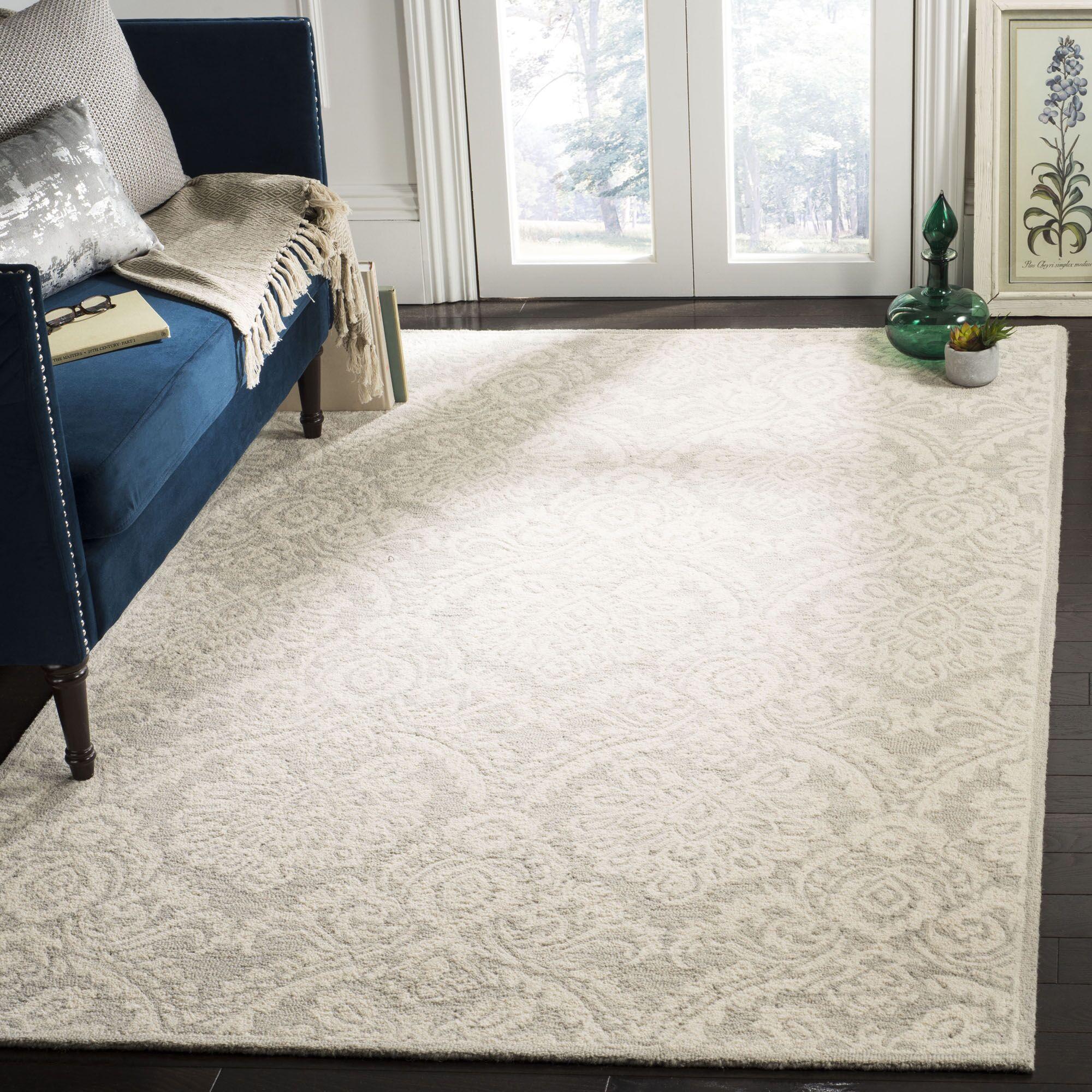 Deidamia Hand-Woven Wool Ivory Area Rug Rug Size: Rectangular 8' x 10'